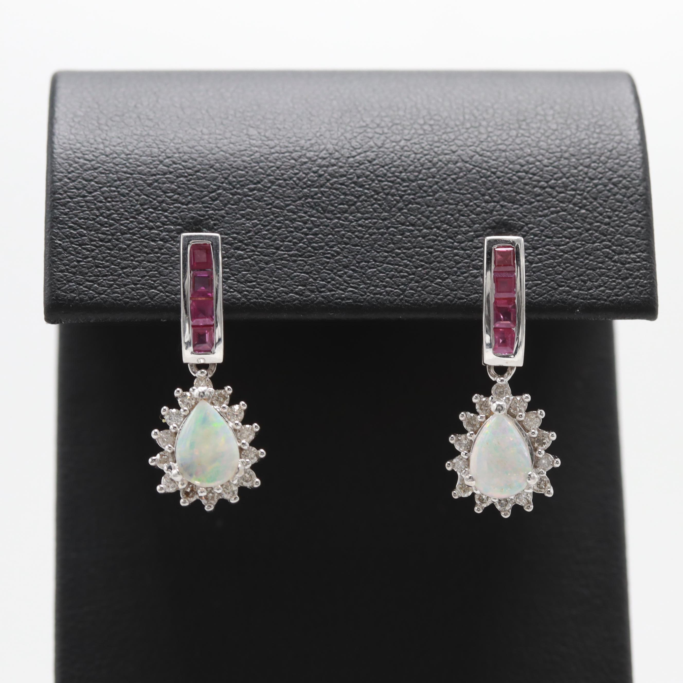 14K White Gold Opal, Diamond and Ruby Drop Earrings