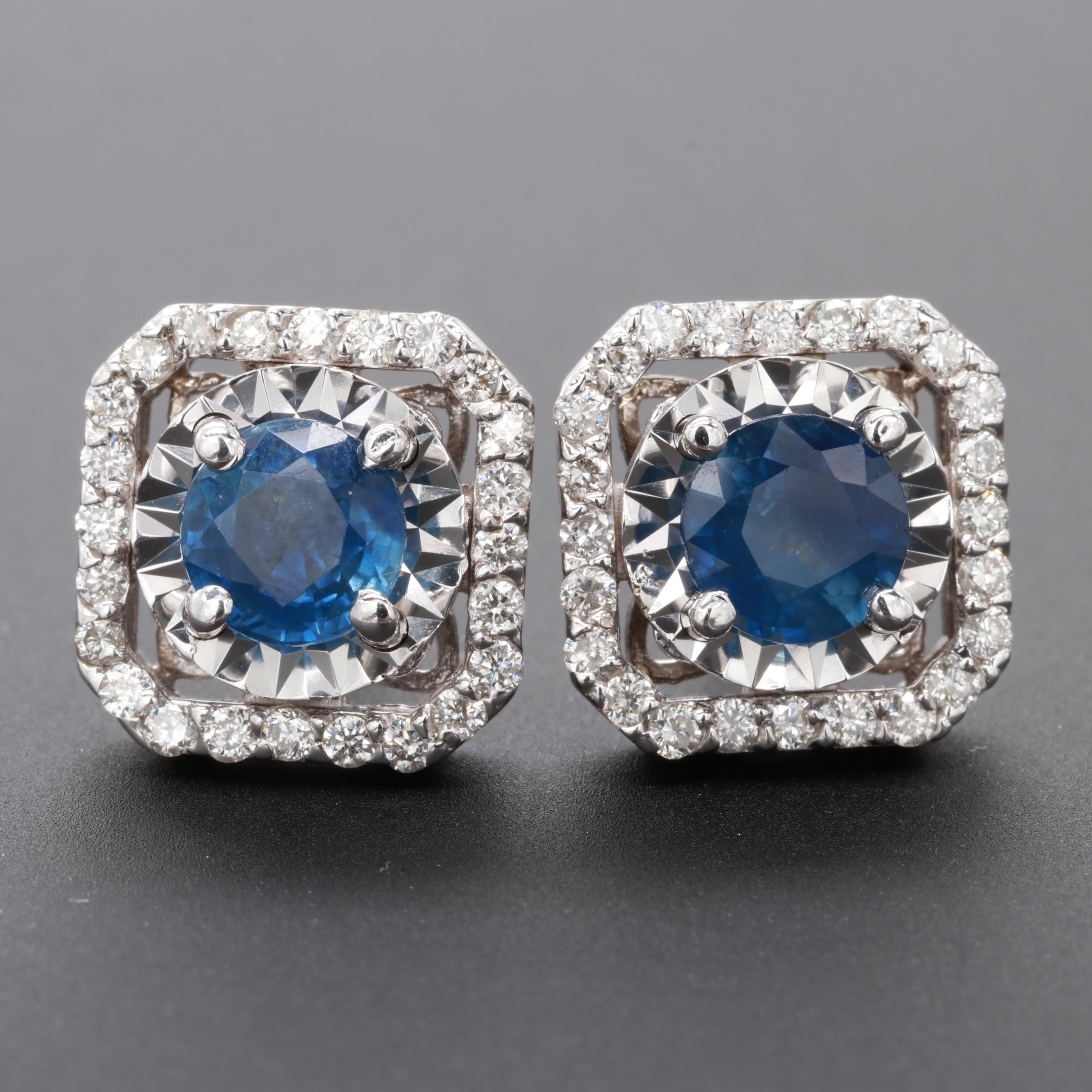 14K White Gold Blue Sapphire and Diamond Earrings