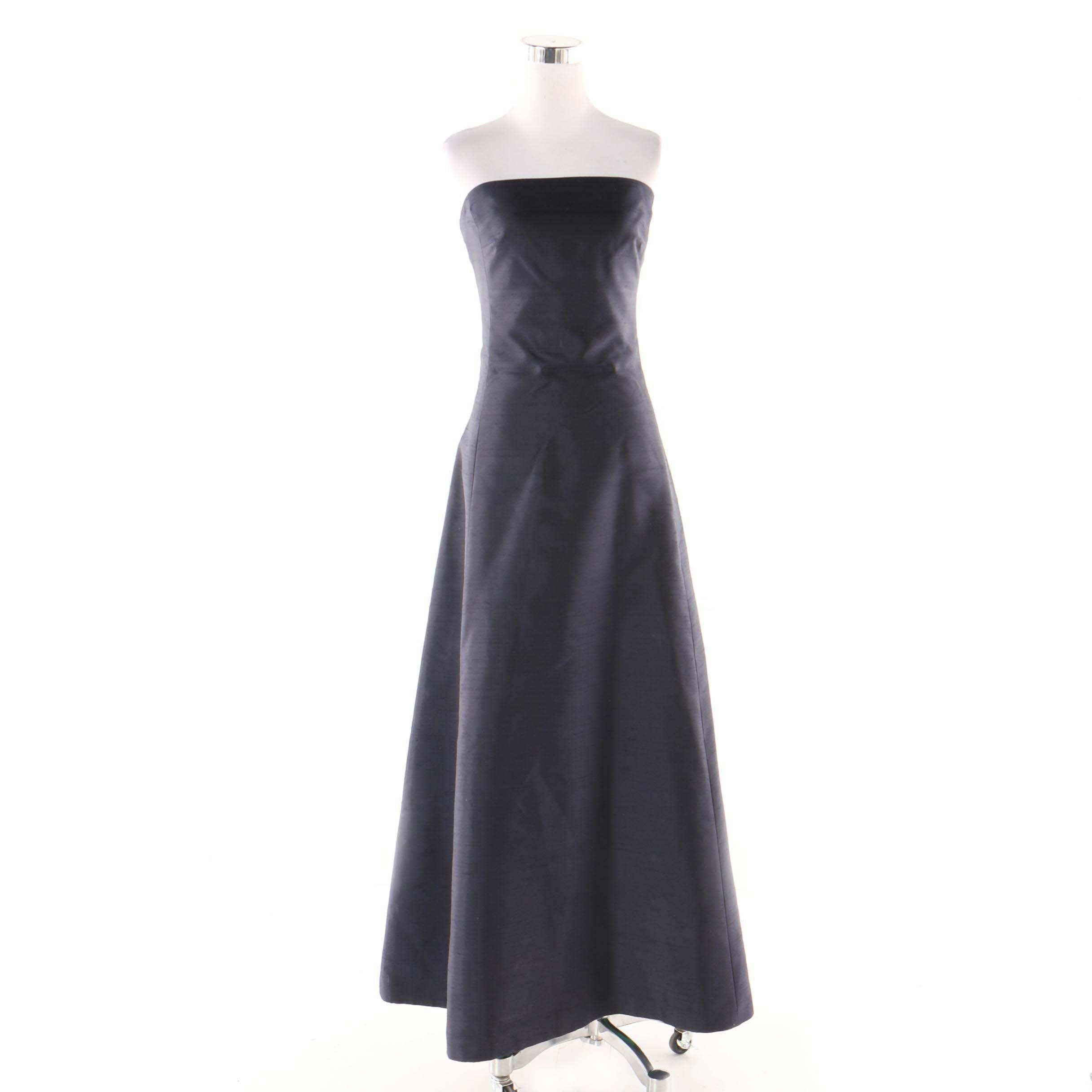 Lauren Ralph Lauren Navy Blue Shantung Silk Strapless Gown