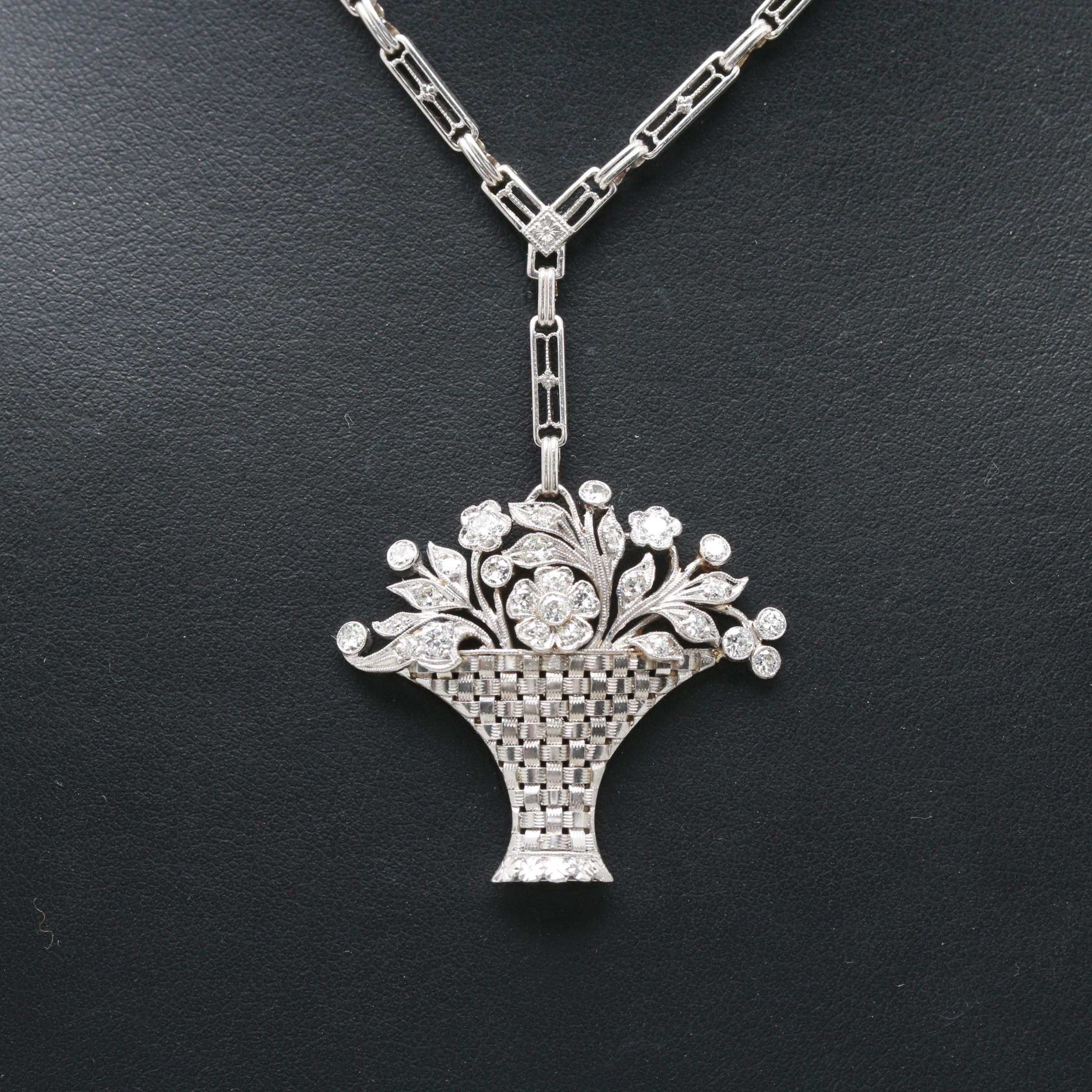 Art Deco Platinum and 14K White Gold 1.00 CTW Diamond Flower and Basket Necklace