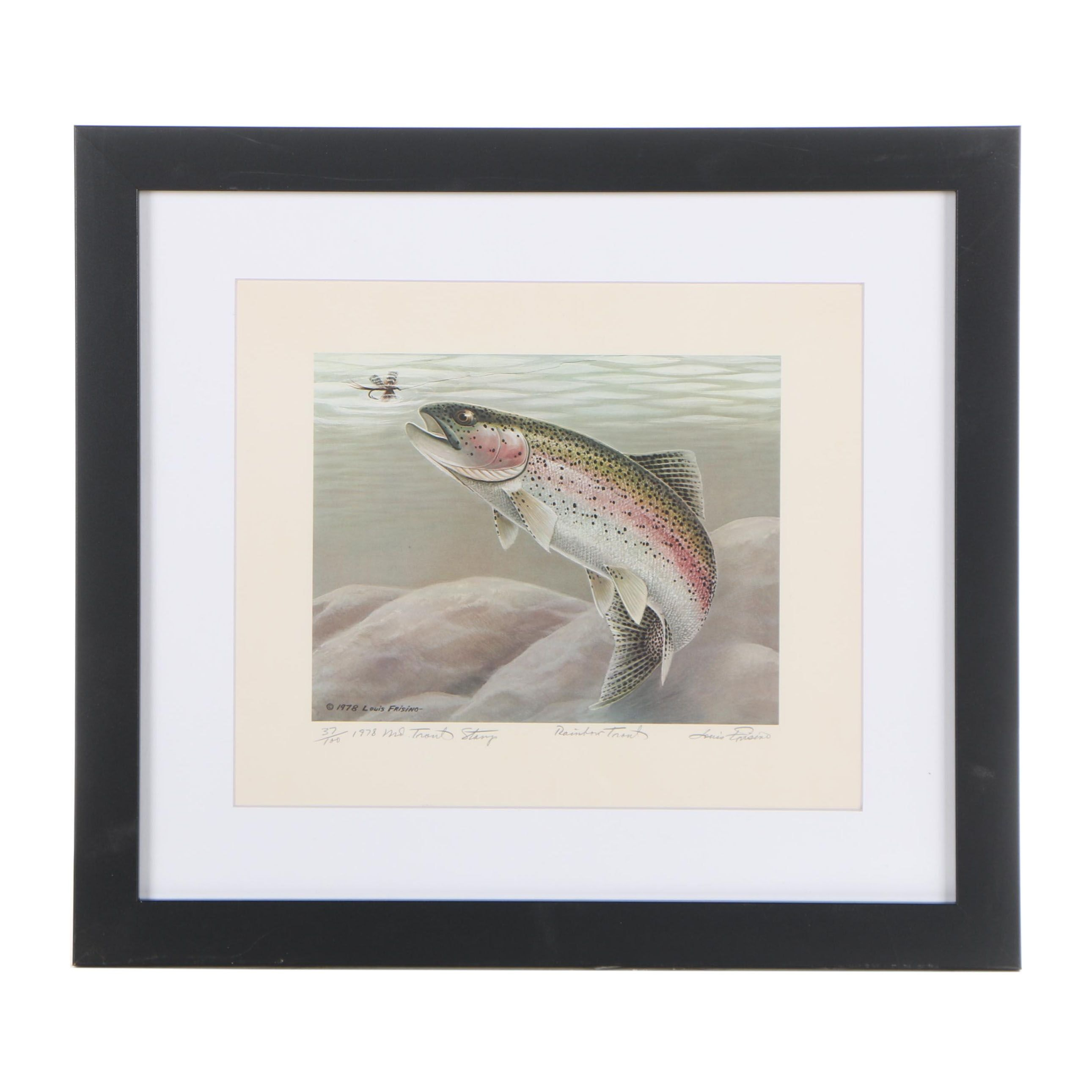 "Louis Frisino 1978 Offset Lithograph ""Rainbow Trout"""
