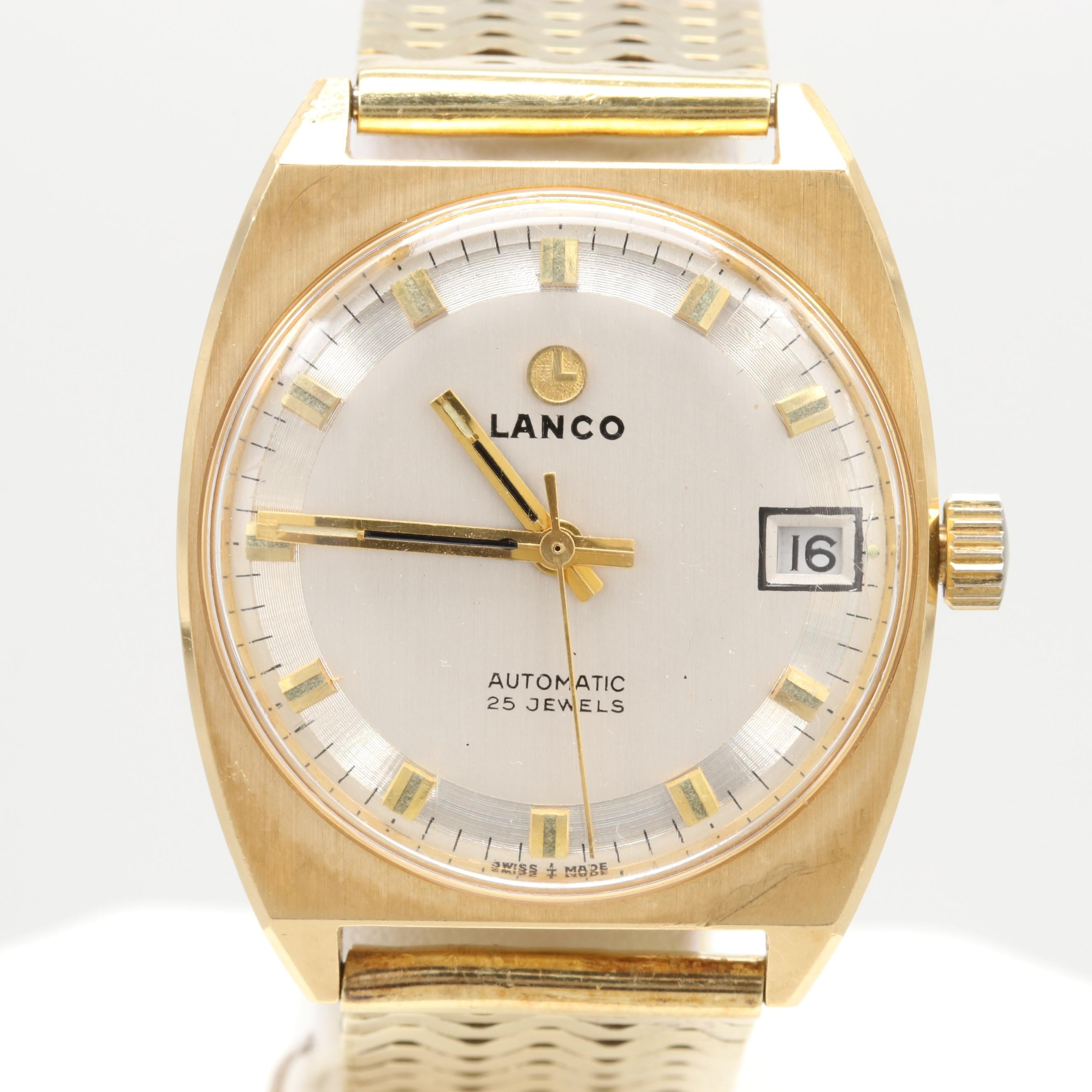 Lanco 18K Yellow Gold Automatic Watch with 14K Yellow Gold Bracelet