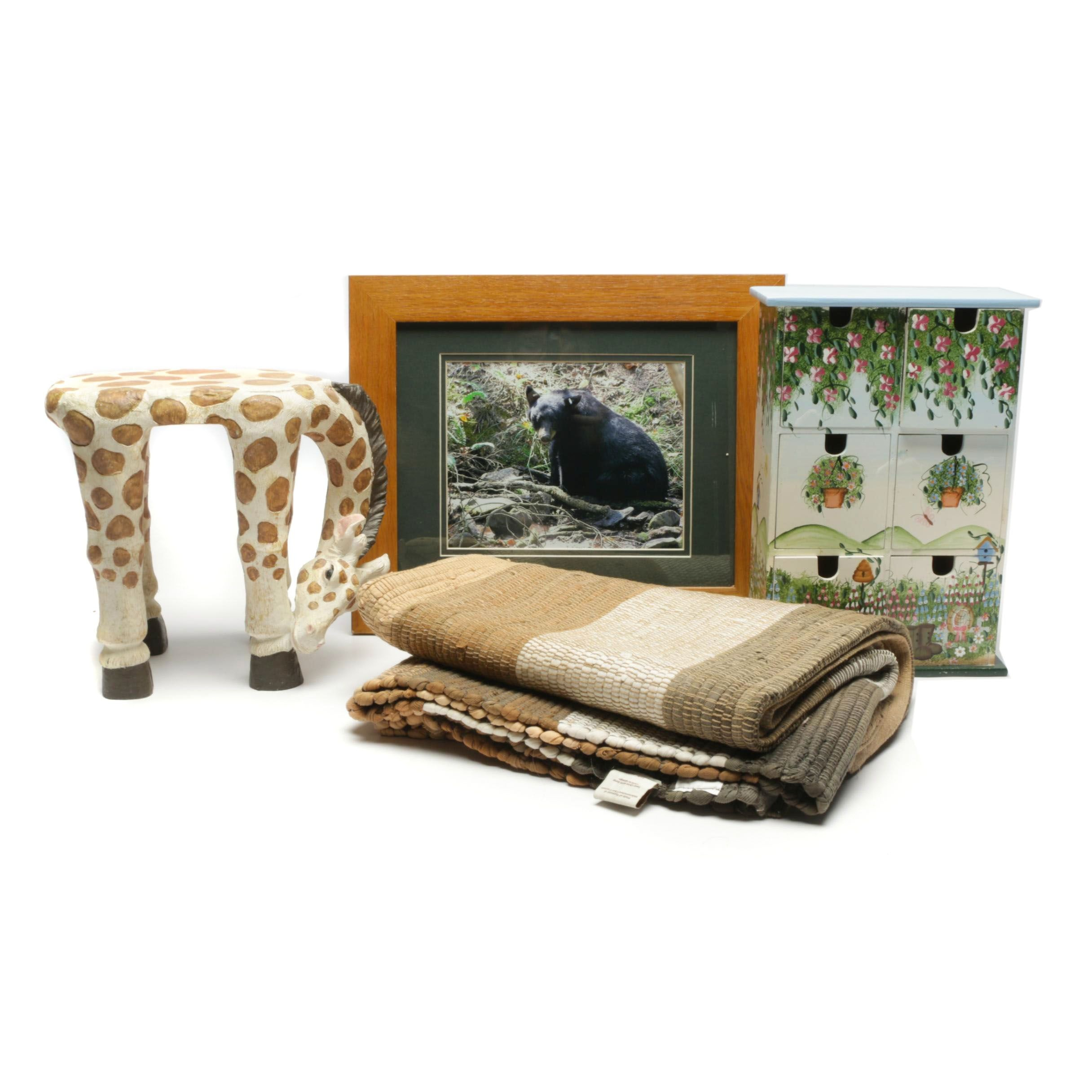 Wildlife Theme Decor, Painted Cabinet and Girraffe Footstool by Linens & Things