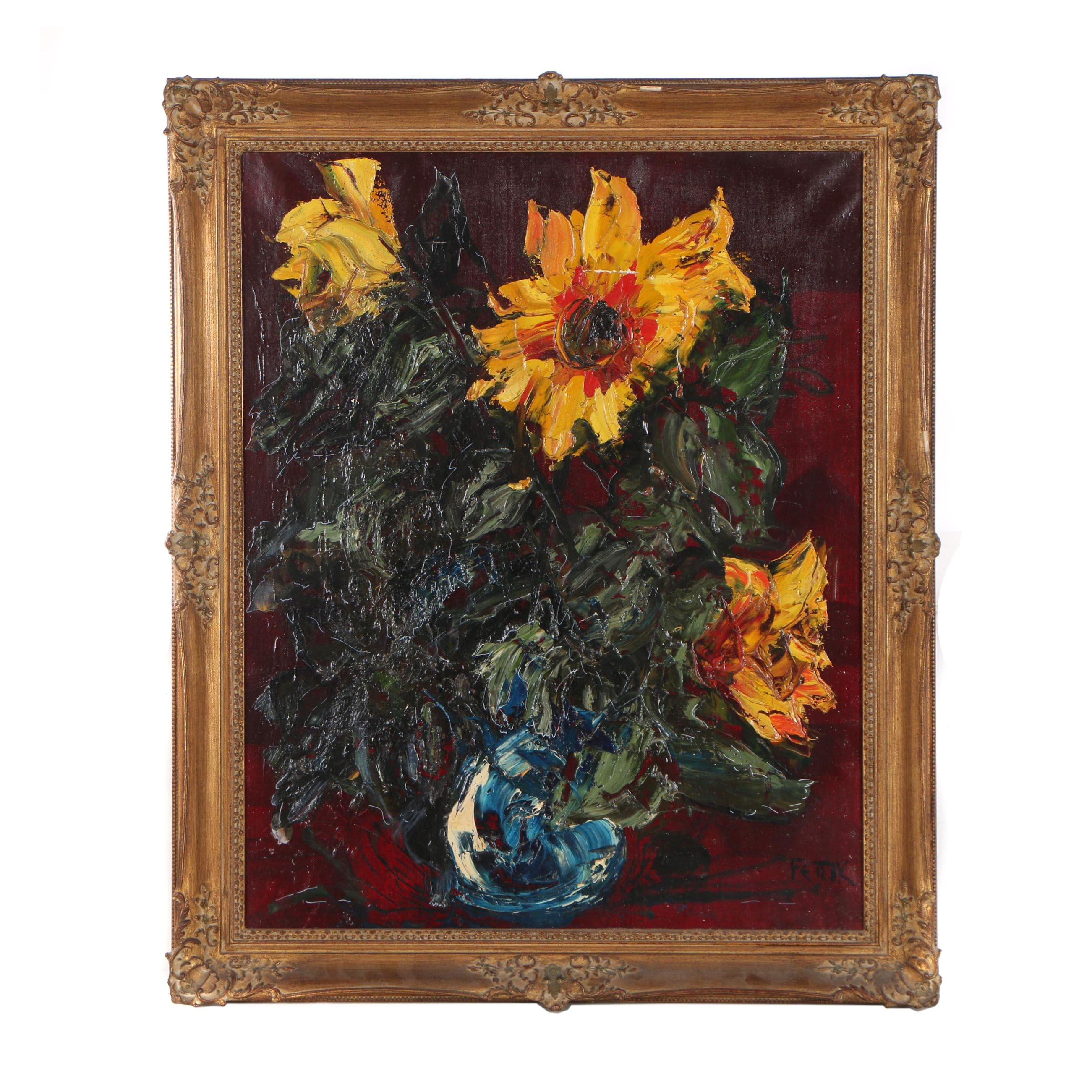Hans Fettik Yellow Flowers Still Life Oil Painting
