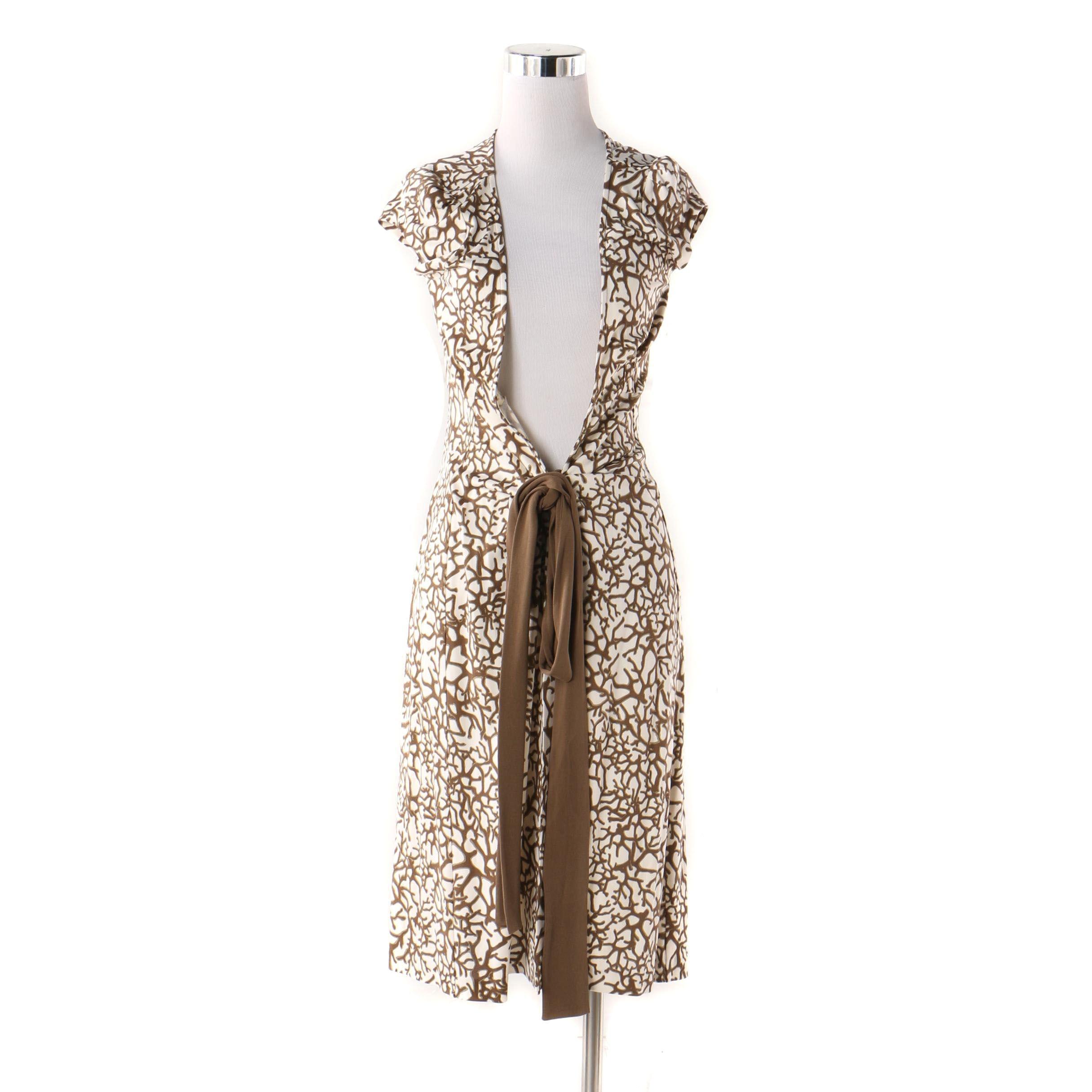 Diane von Furstenberg Silk Branch Print Wrap Dress