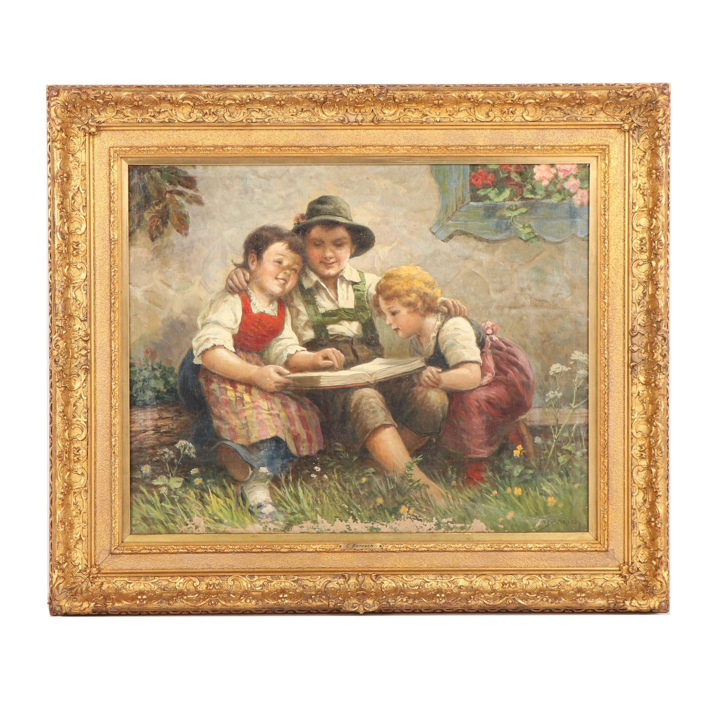C. Benesch Genre Scene Oil Painting