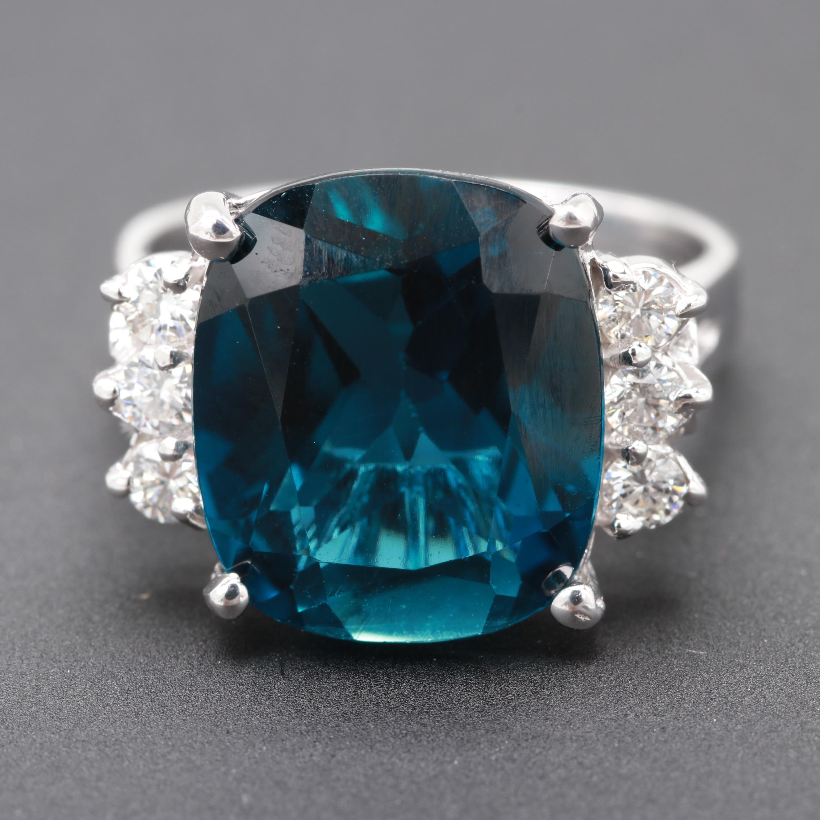 14K White Gold 8.95 CT Blue Topaz and Diamond Ring