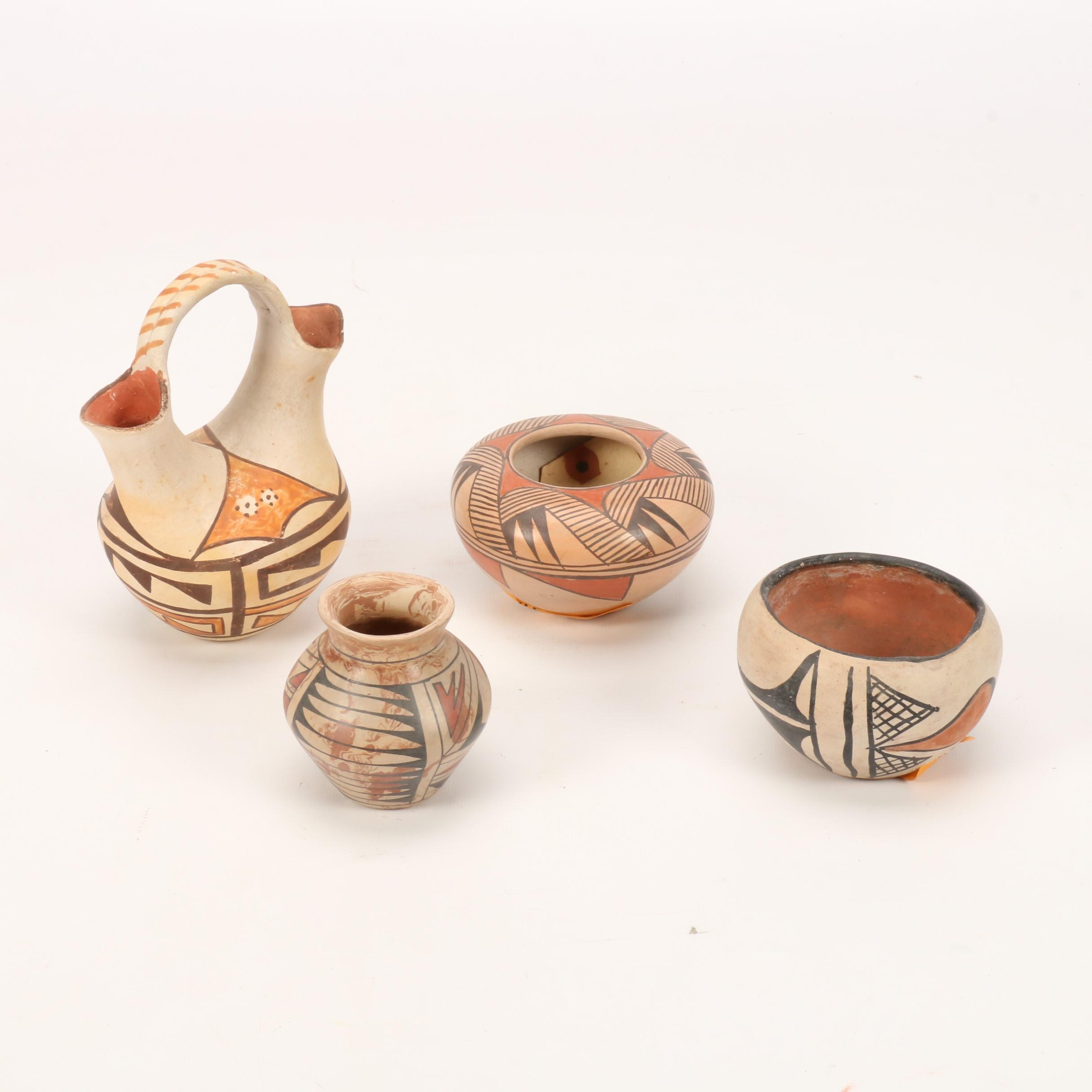 Mexican and Southwestern Earthenware Vases Featuring Verla Dewakuku