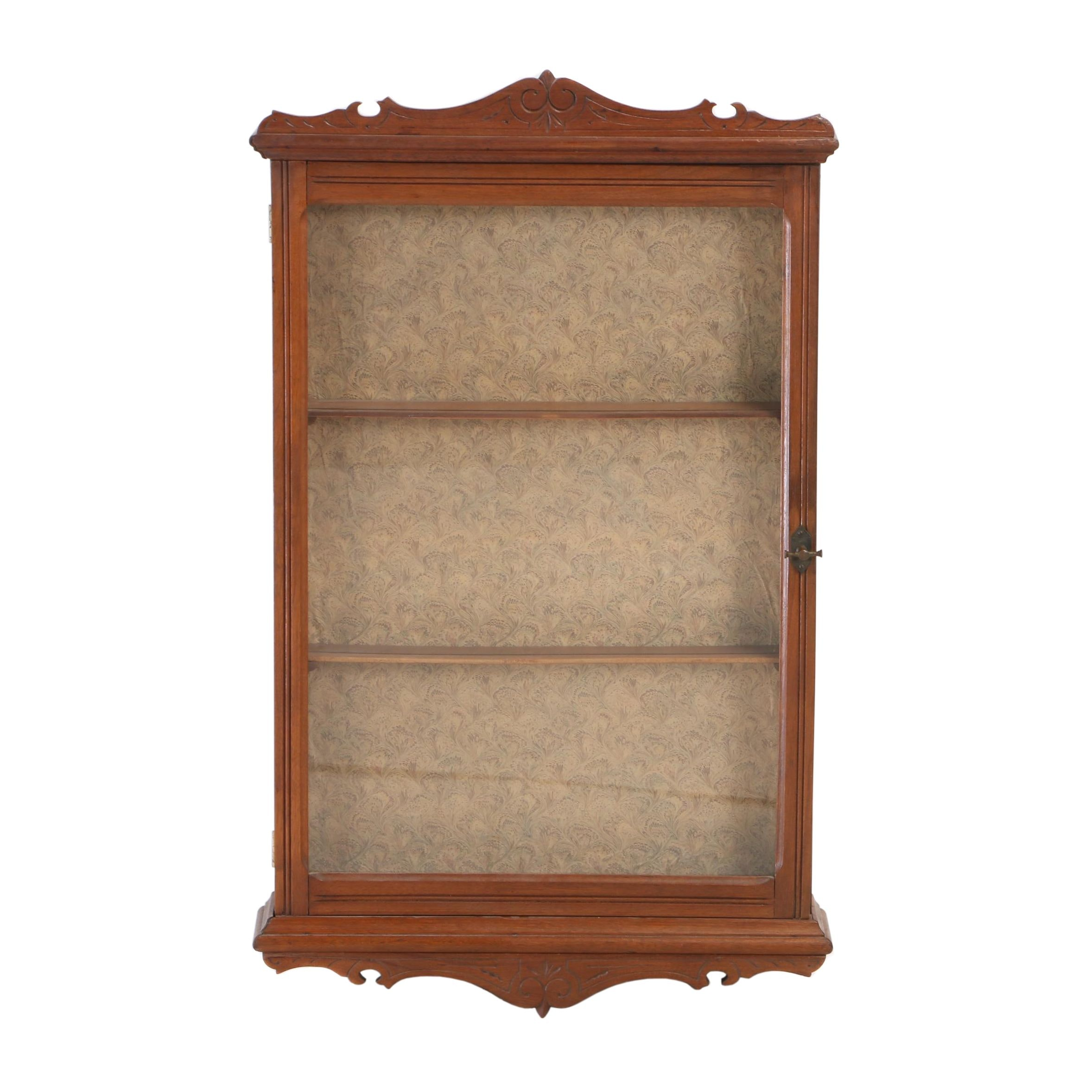 Victorian Walnut Hanging Display Cabinet, Late 19th Century