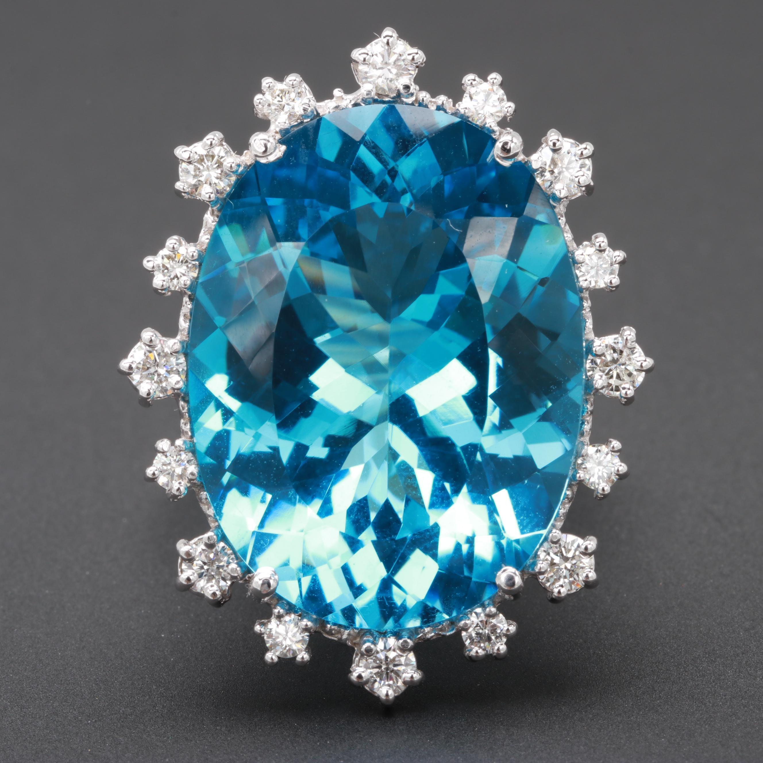 14K White Gold 30.27 CT Blue Topaz and Diamond Ring