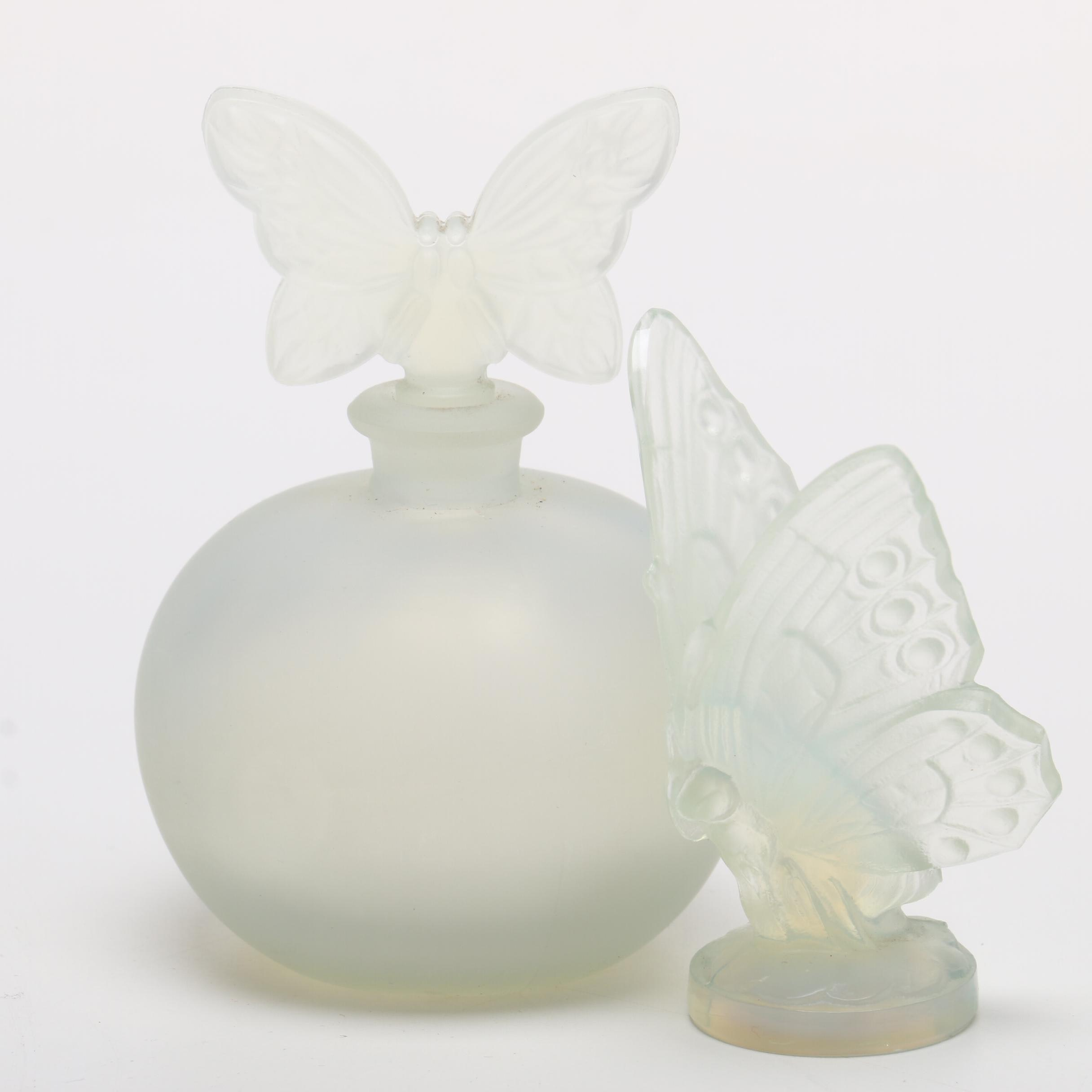 Sabino Glass Butterfly Figurine and Chamart Butterfly Perfume Bottle