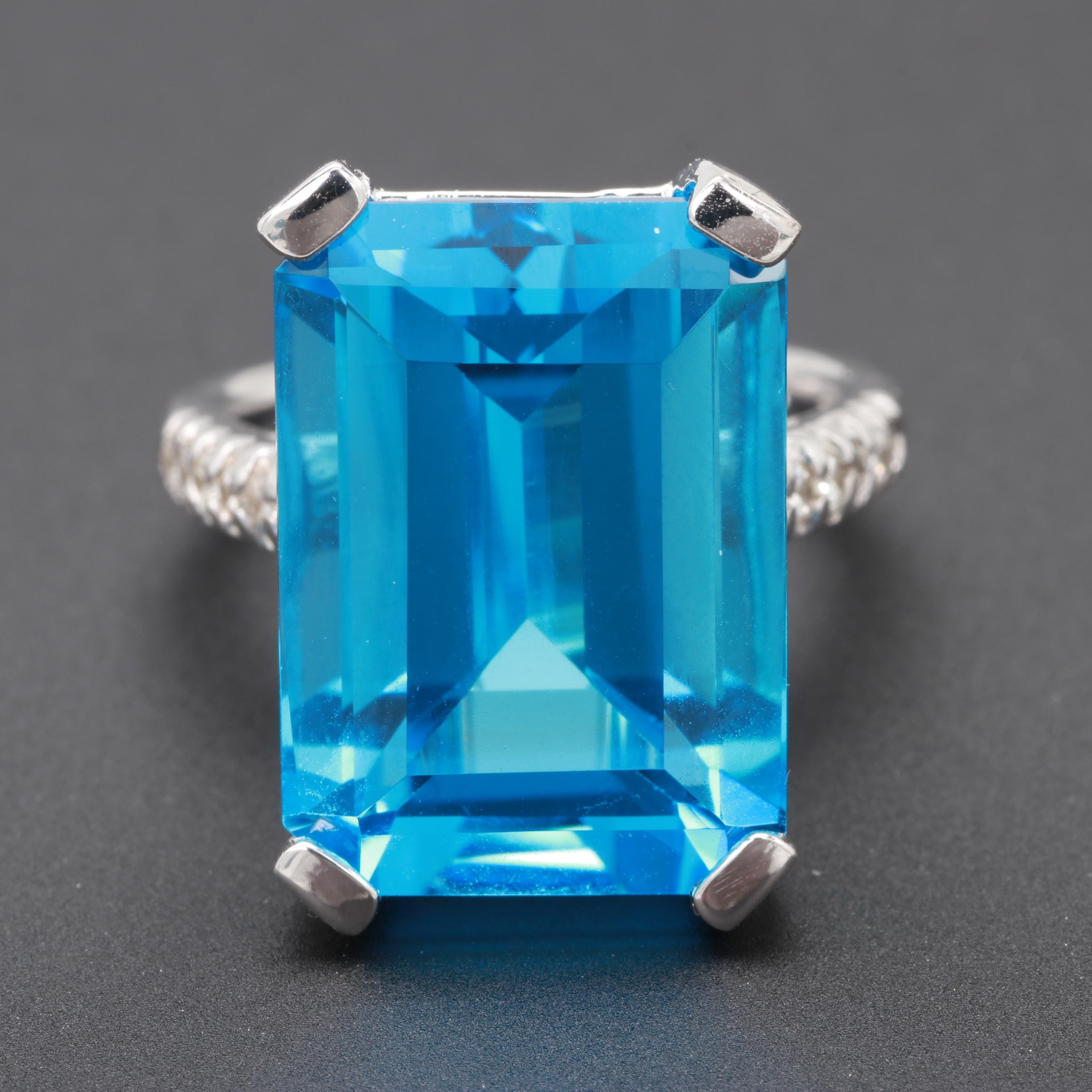 14K White Gold 19.27 CT Topaz and Diamond Ring