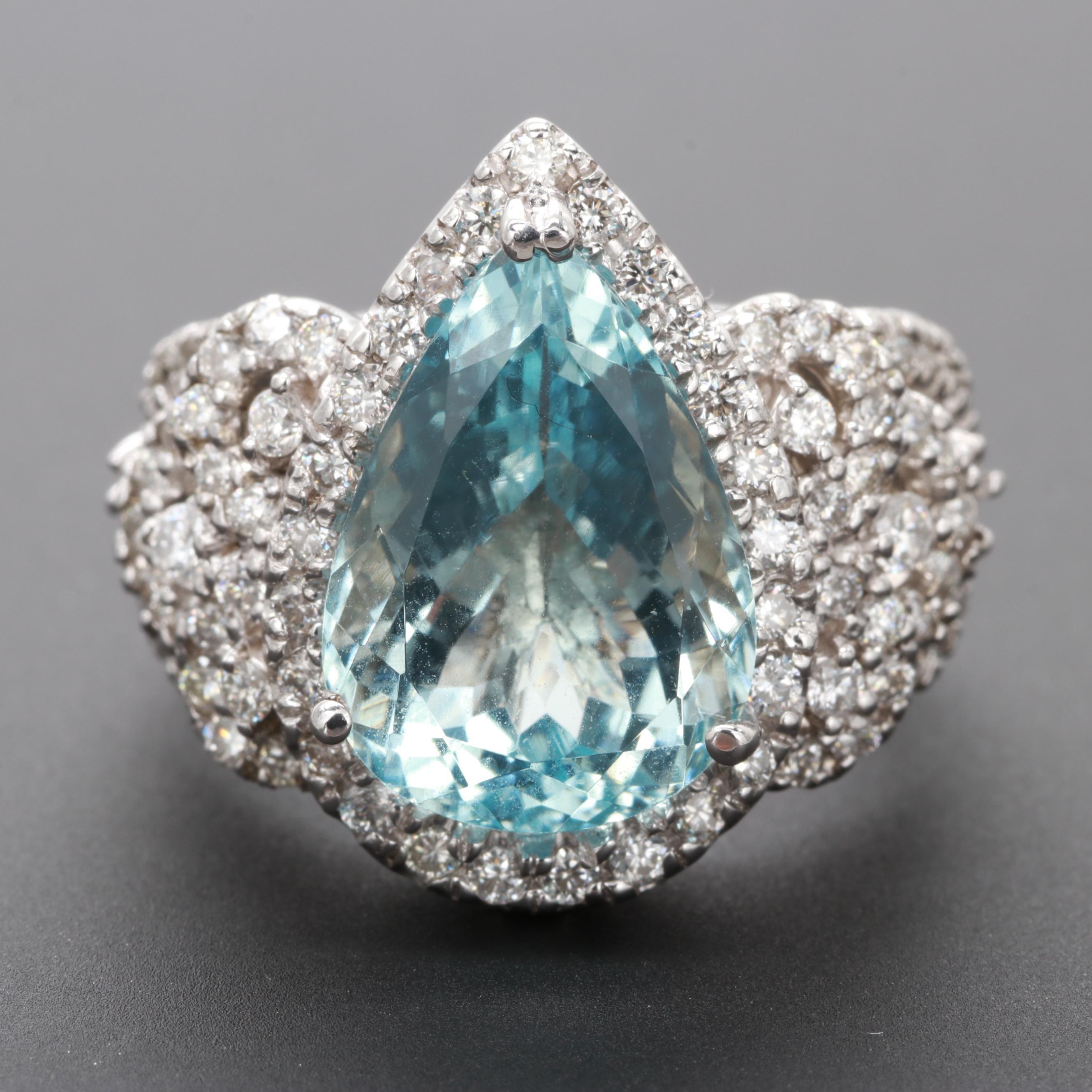 14K White Gold Aquamarine and 1.28 CTW Diamond Ring
