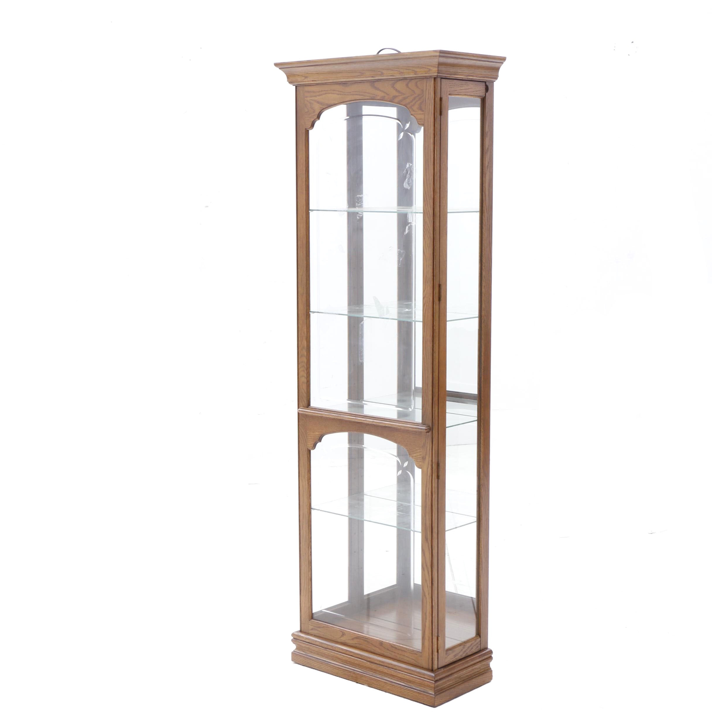 Phillips Reinisch Company Lighted Oak Display or Curio Cabinet