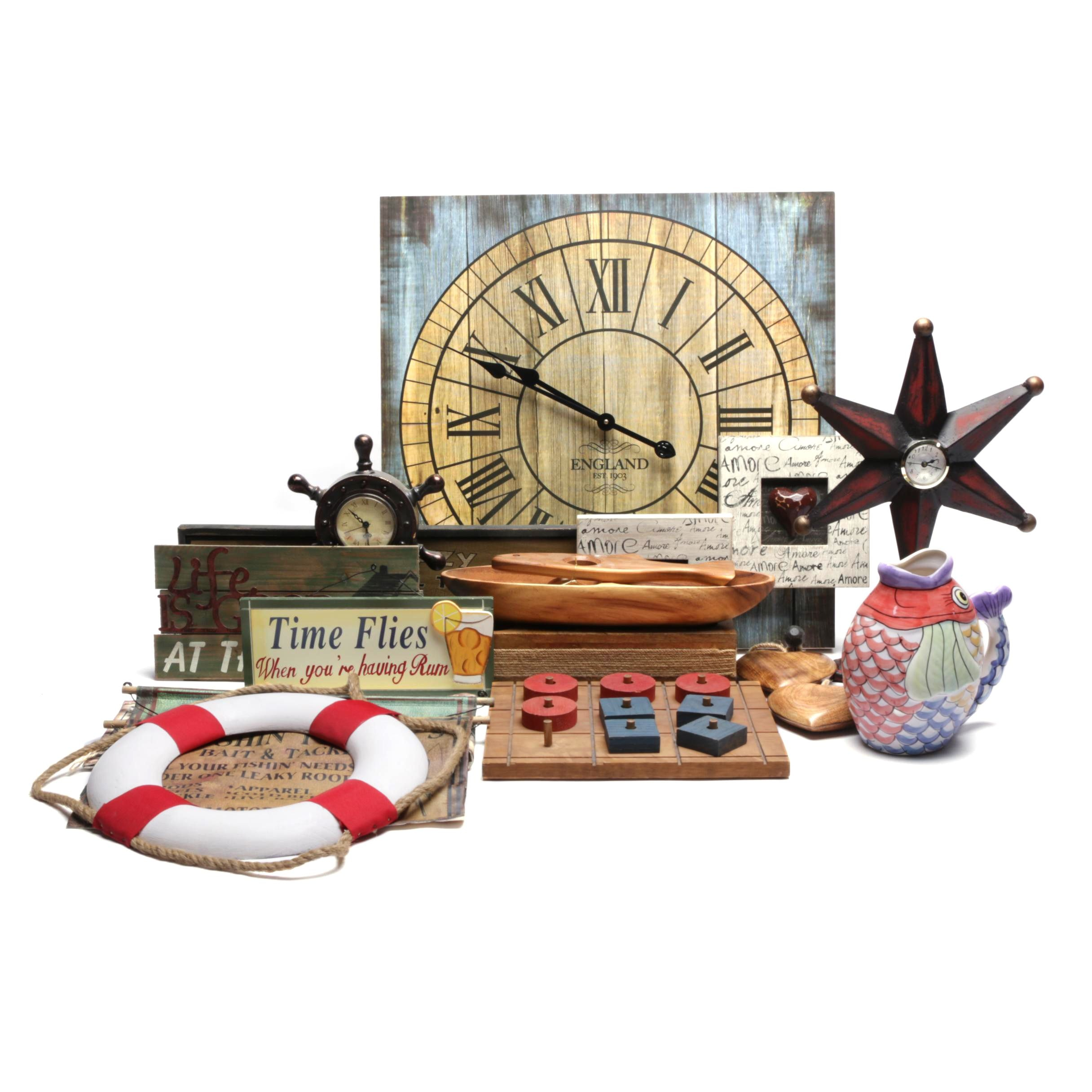 Assorted Clocks, Art and Decor Including The Design House Novelty Clock