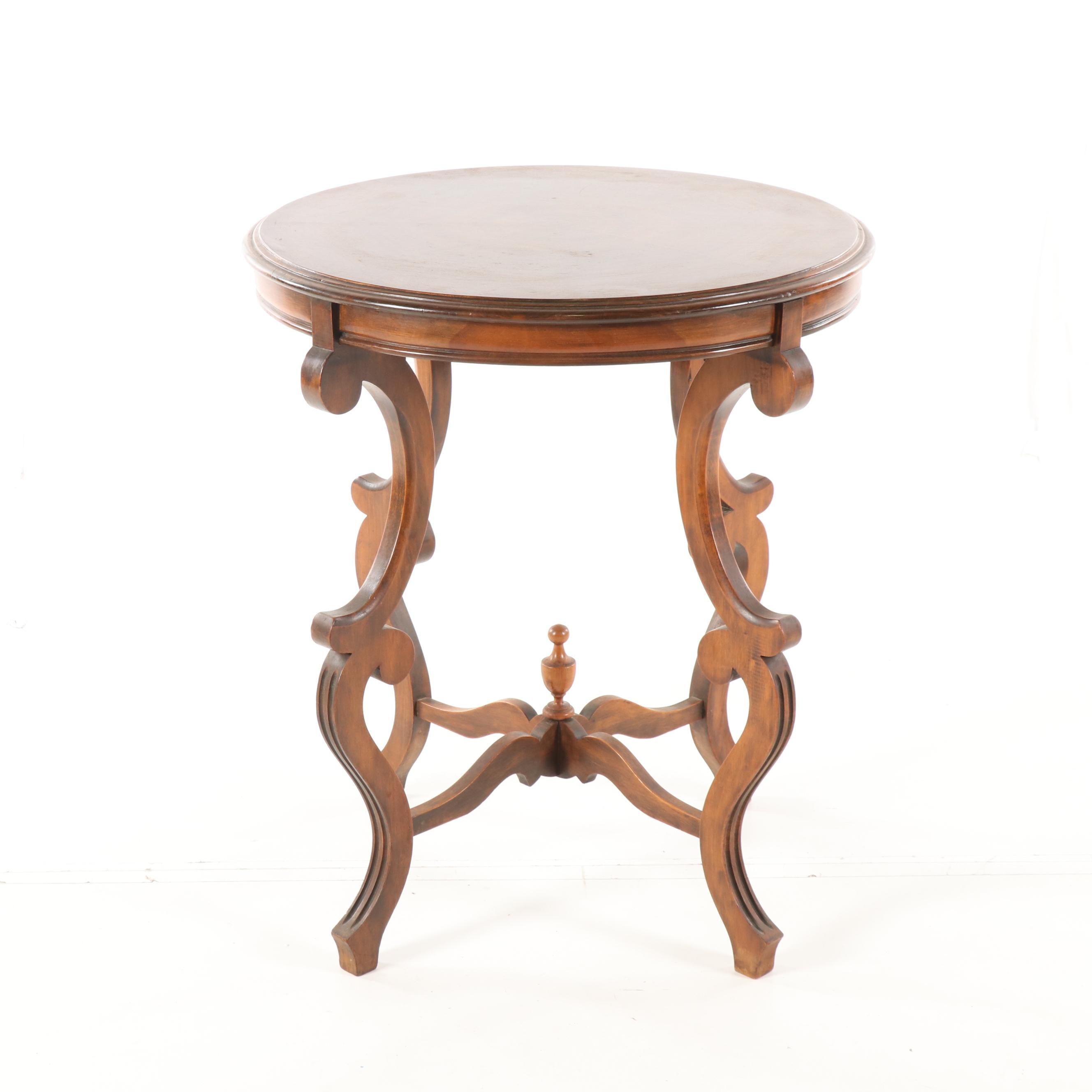 Victorian Style Walnut Side Table, Late 20th Century