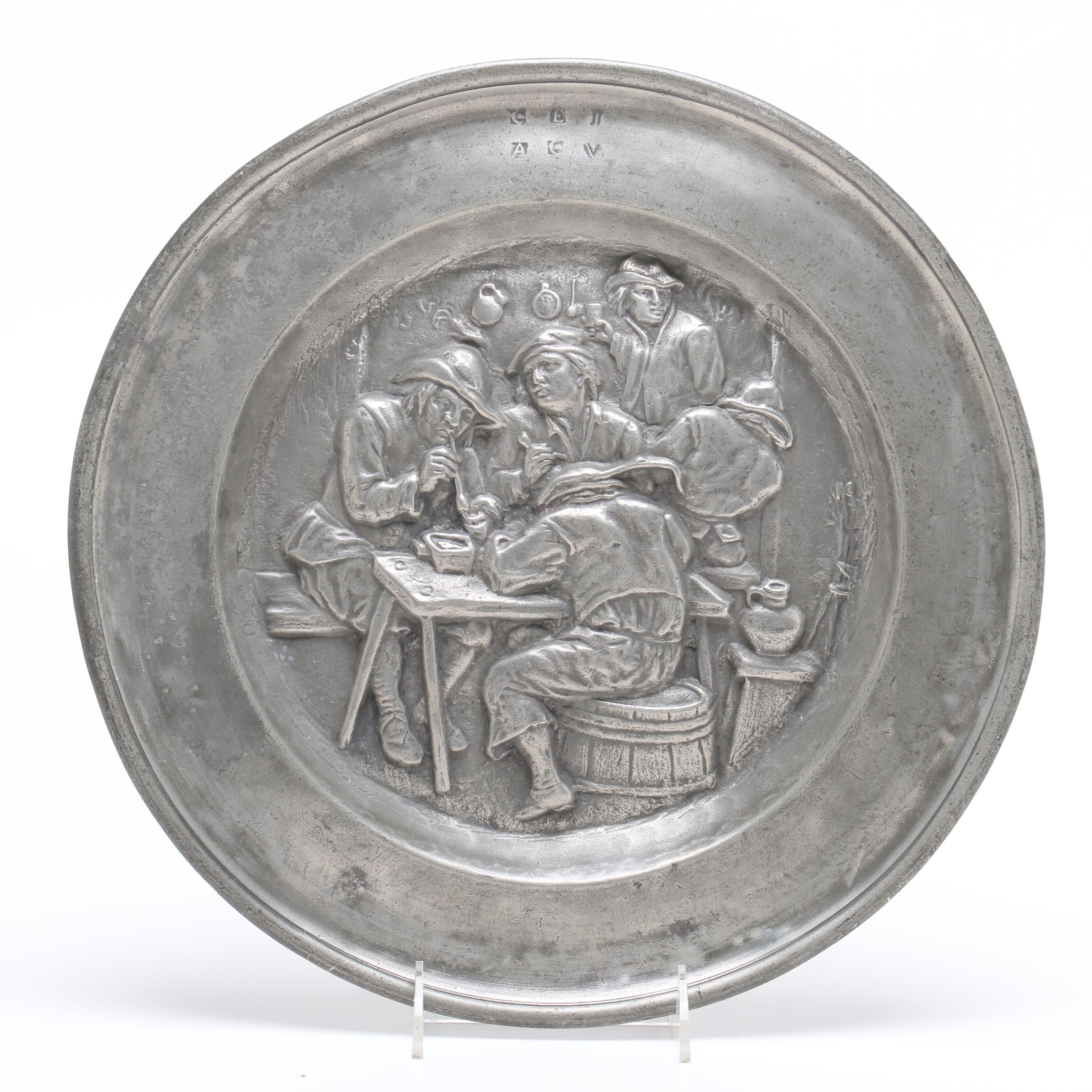 Decorative Mid-Century Era Tavern or Pub Scene Pewter Hanging Plate