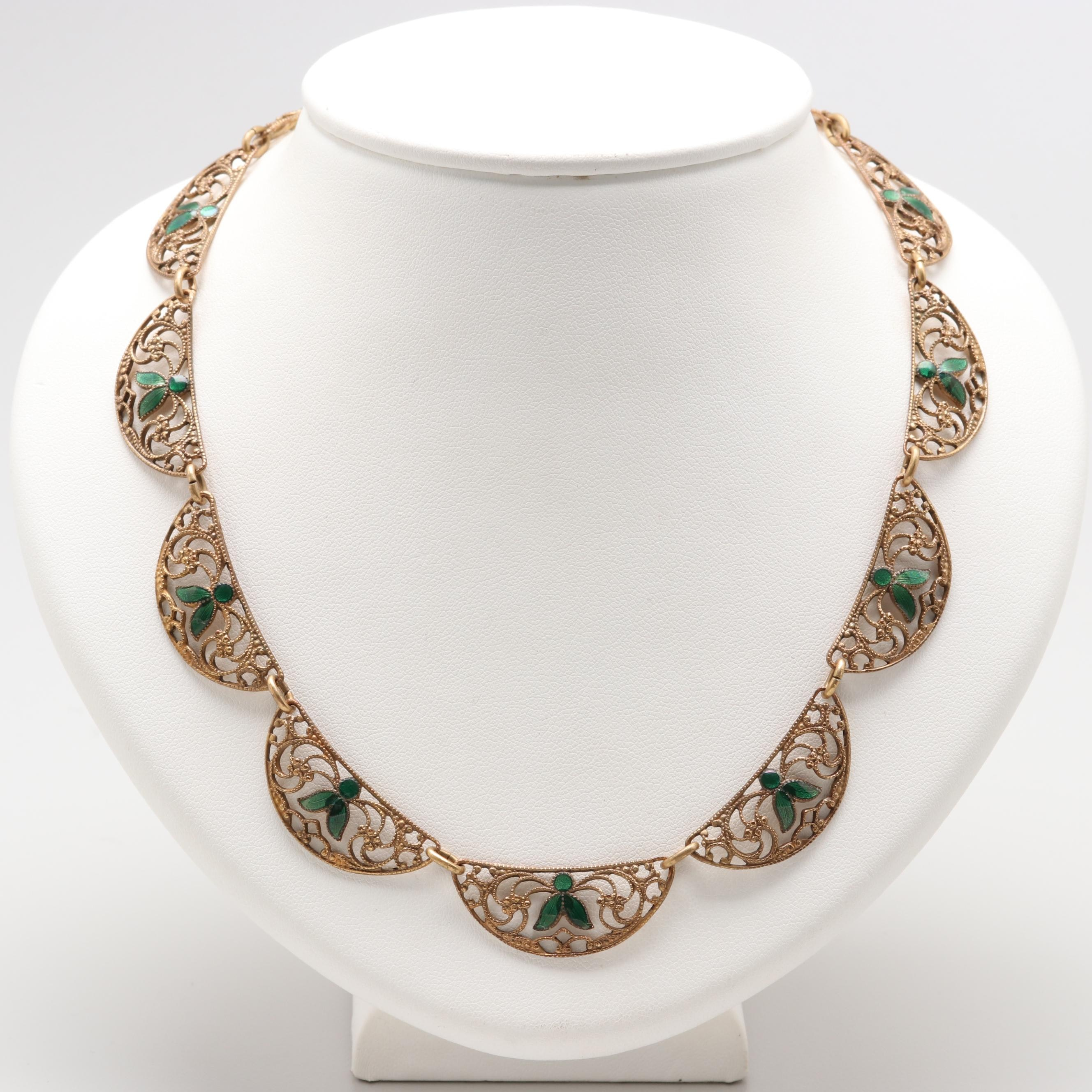 Edwardian Gold-Tone Filigree and Enamel Half Moon Link Necklace