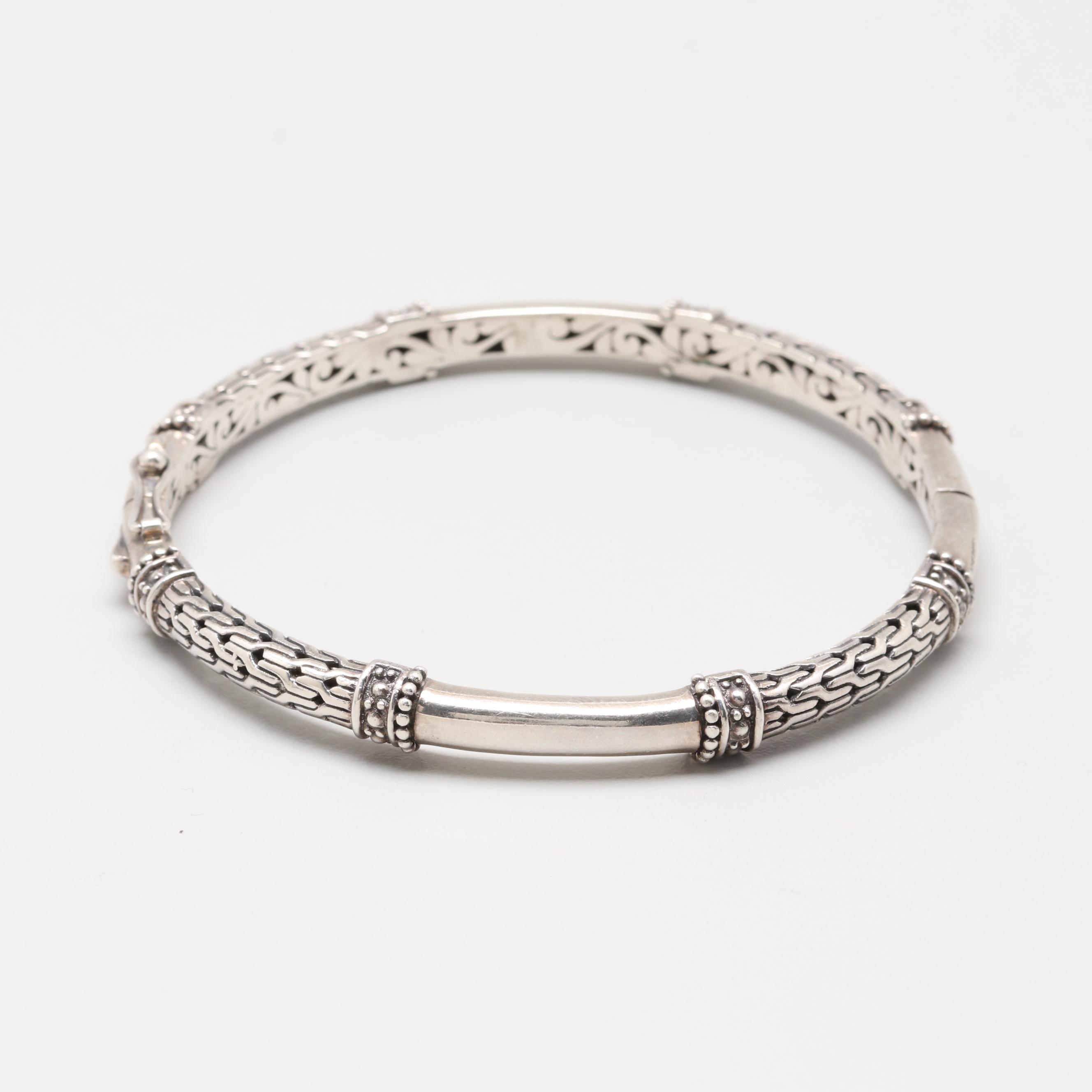 Sarda Sterling Silver Hinged Bangle Bracelet