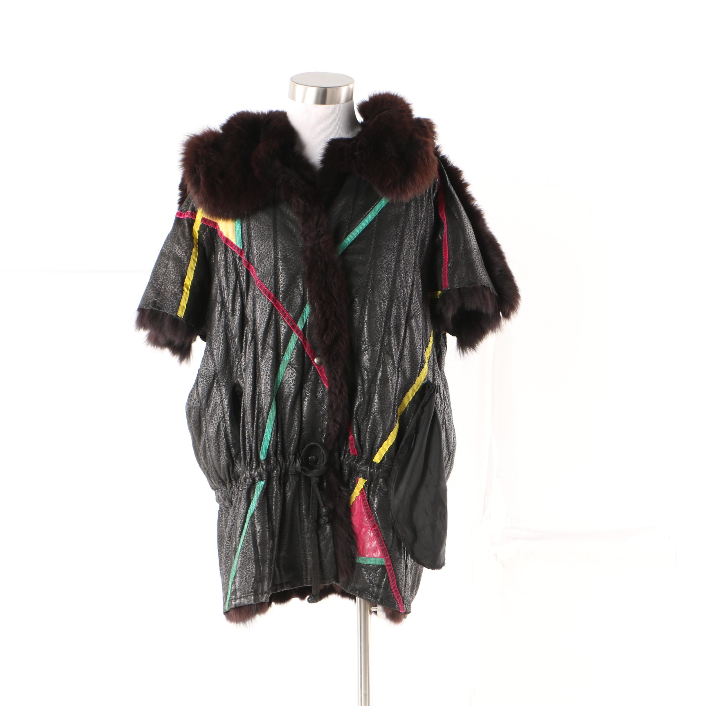 1980s Vintage Tarja Niskanen Reversible Leather and Fox Fur Jacket