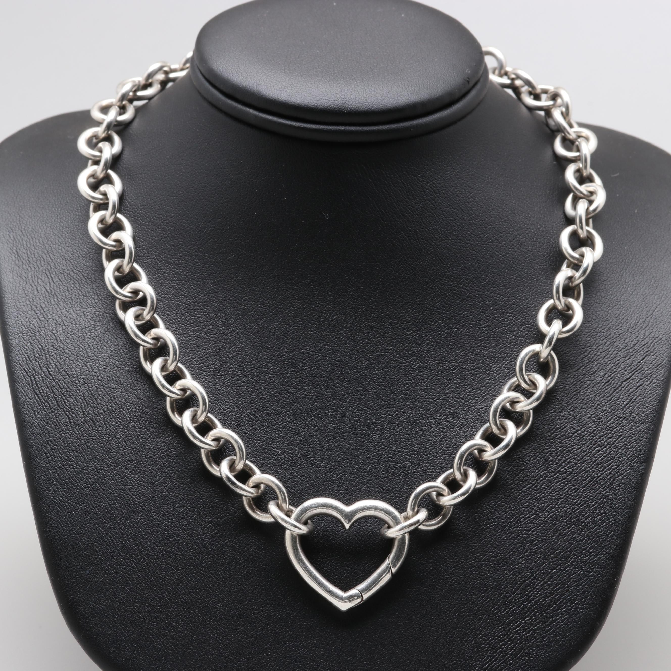 Tiffany & Co Sterling Silver Heart Link Necklace