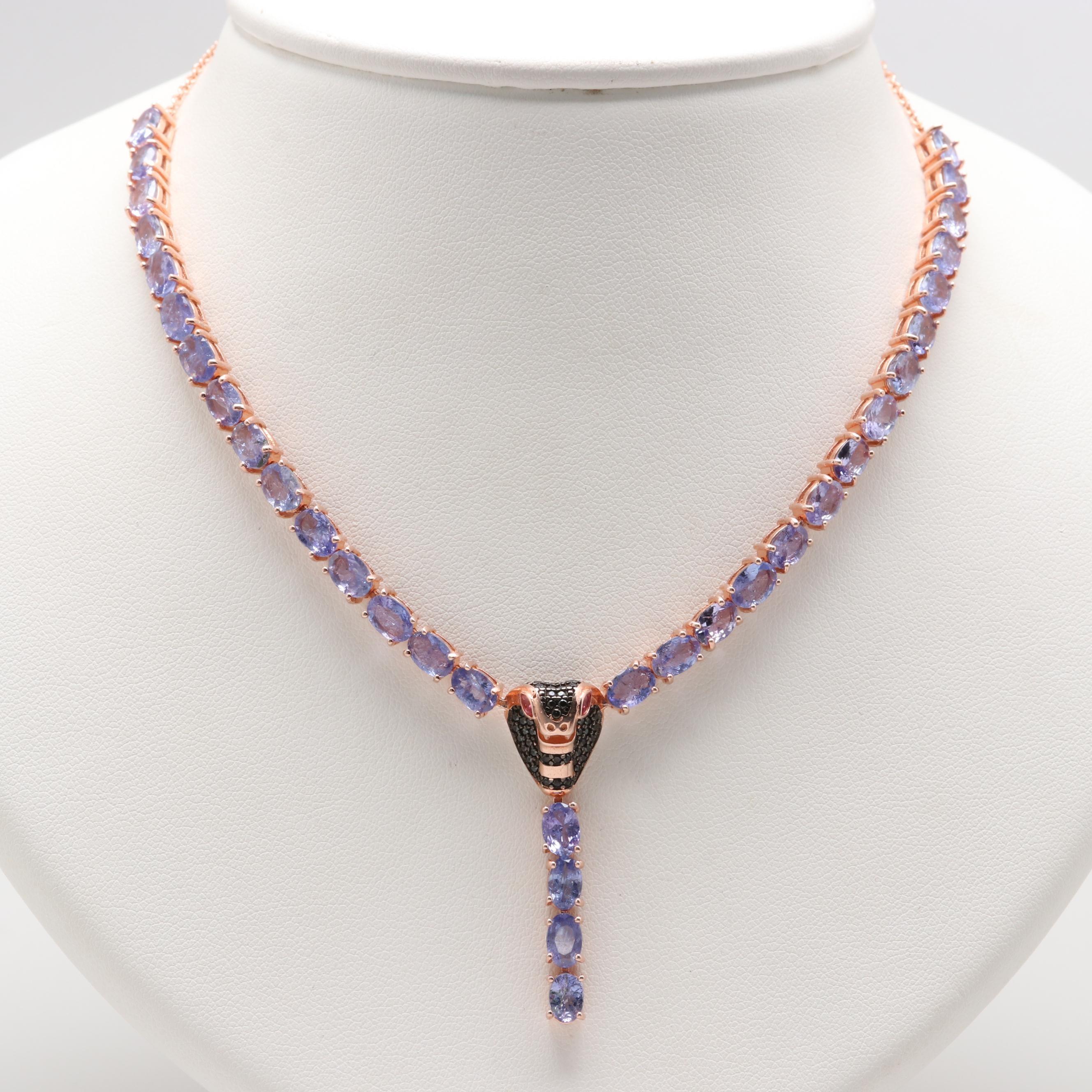Rose Gold Wash on Sterling Silver Cobra Necklace