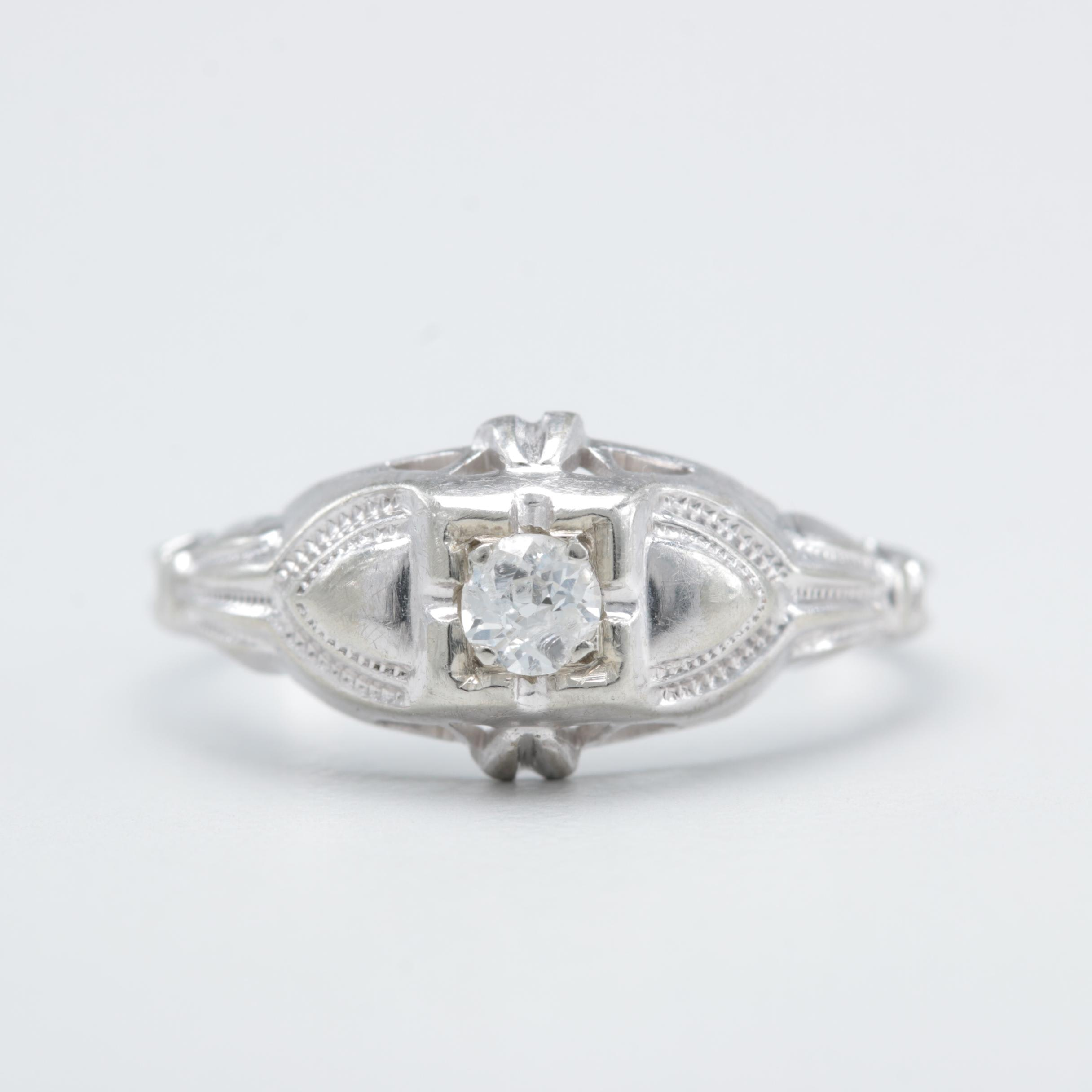 Circa 1930s 18K White Gold Diamond Ring
