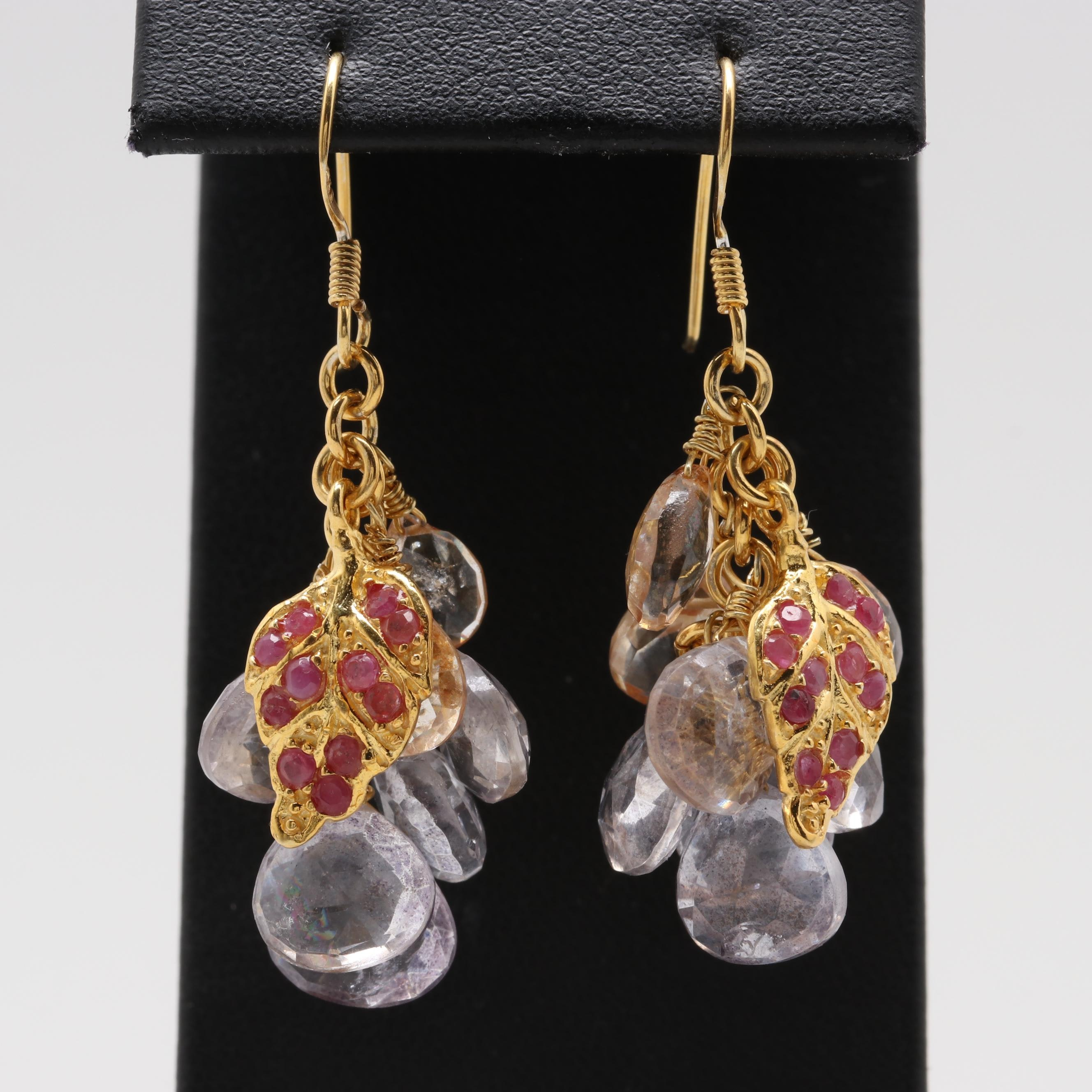 Gold Wash on Sterling Silver White Quartz and Ruby Earrings