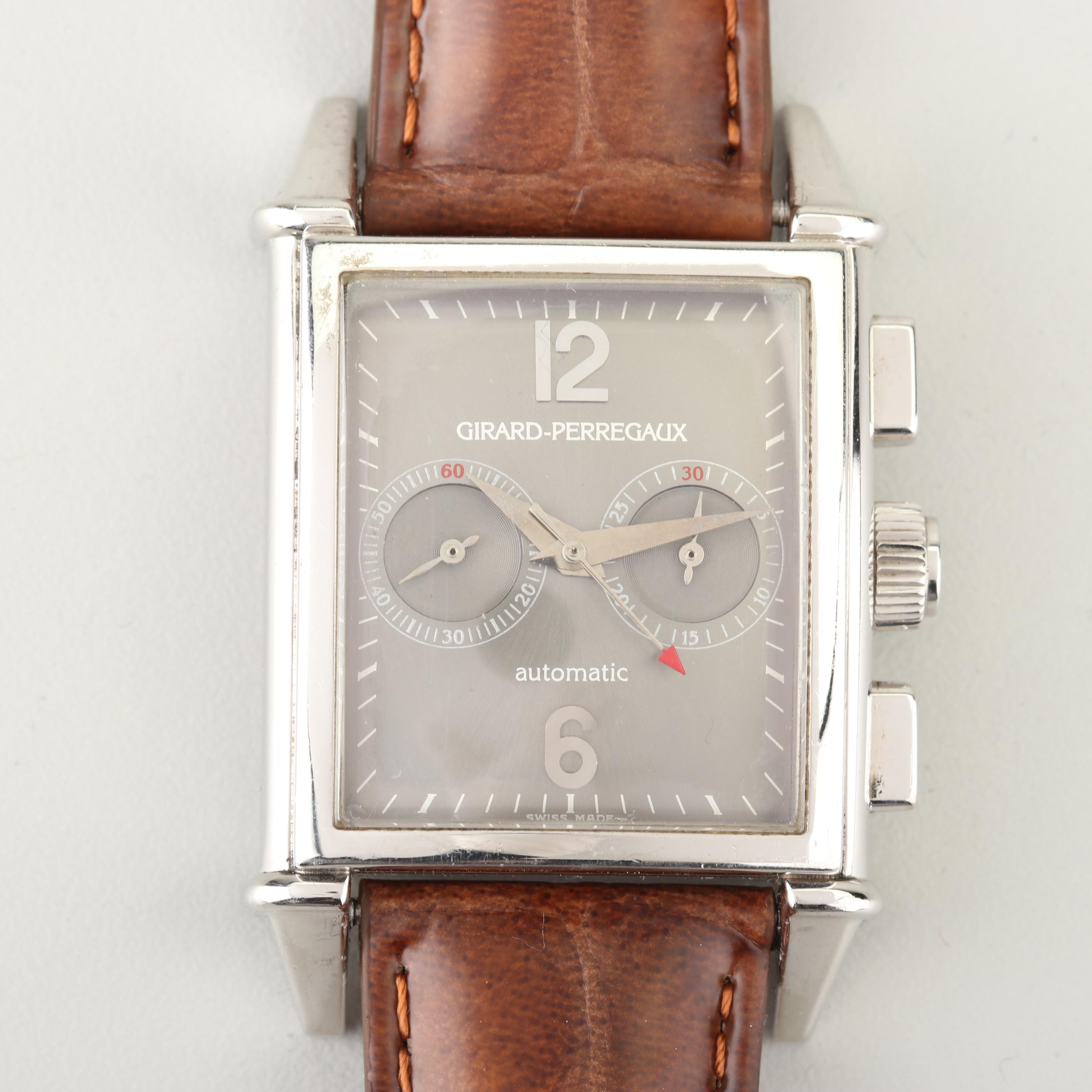 Girard-Perregaux Automatic Platinum and Leather Wristwatch