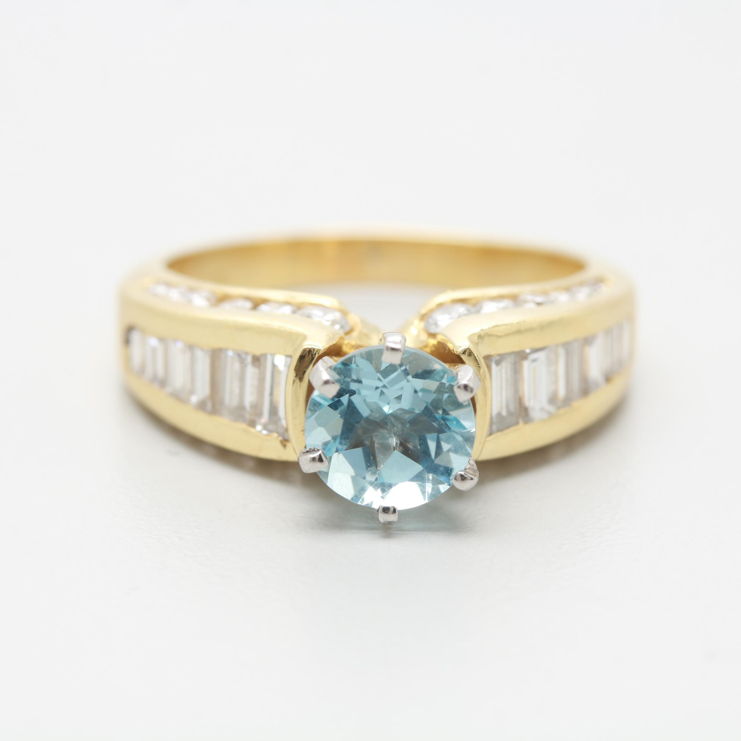 18K Yellow Gold Aquamarine and 2.00 CTW Diamond Ring