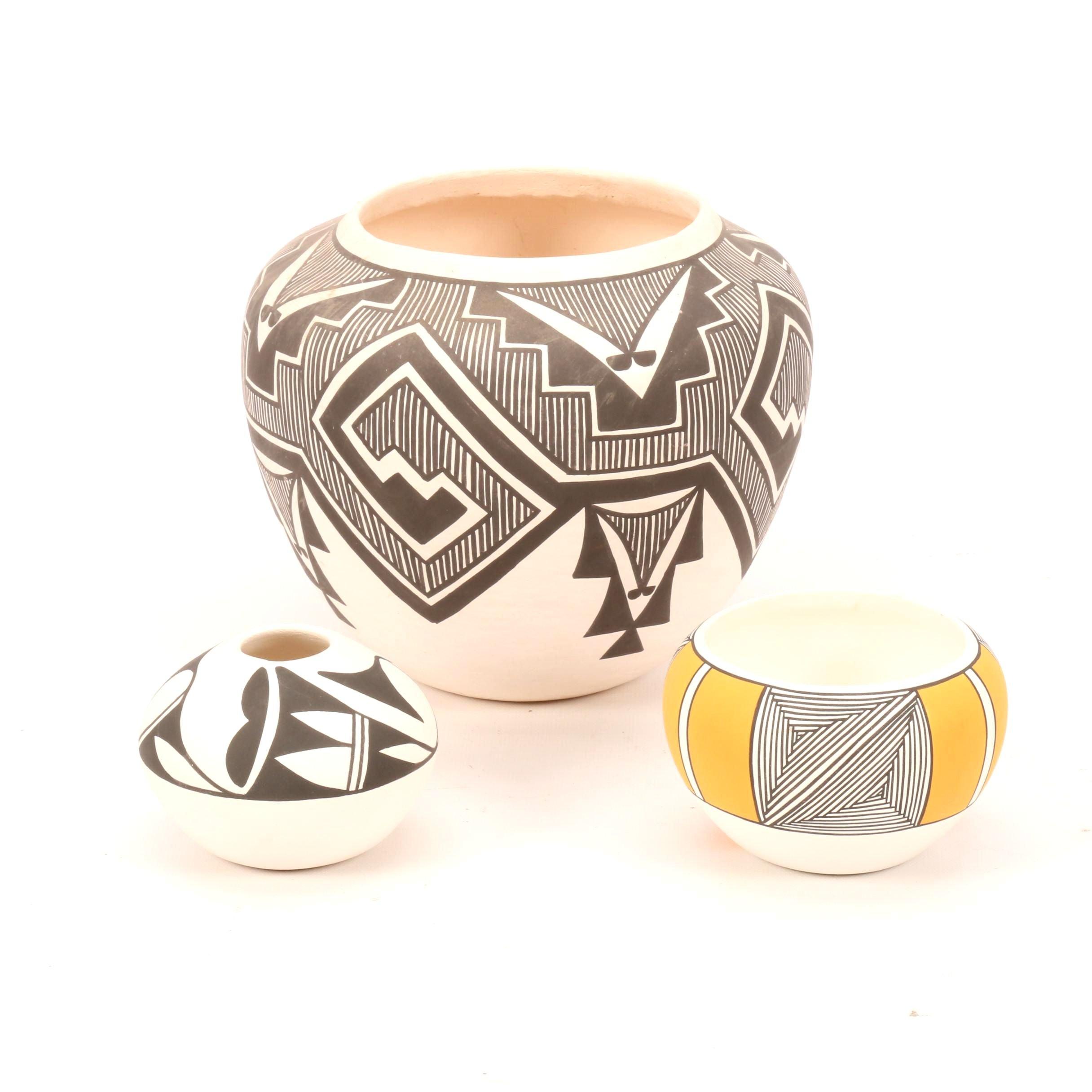 Acoma Pueblo Polychrome Earthenware Vases Including Vallo, Abieta and Chino