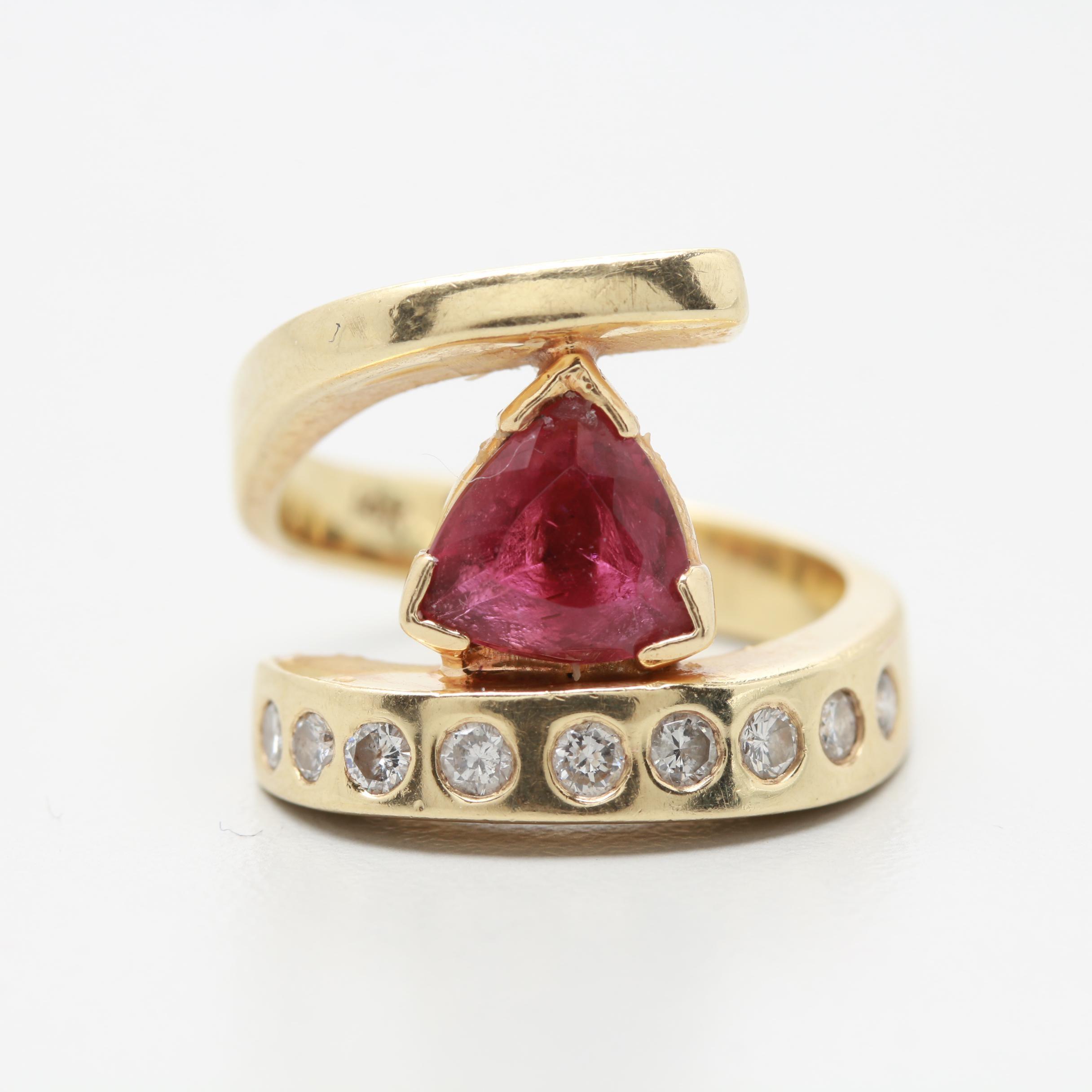 14K Yellow Gold Pink Tourmaline and Diamond Bypass Ring