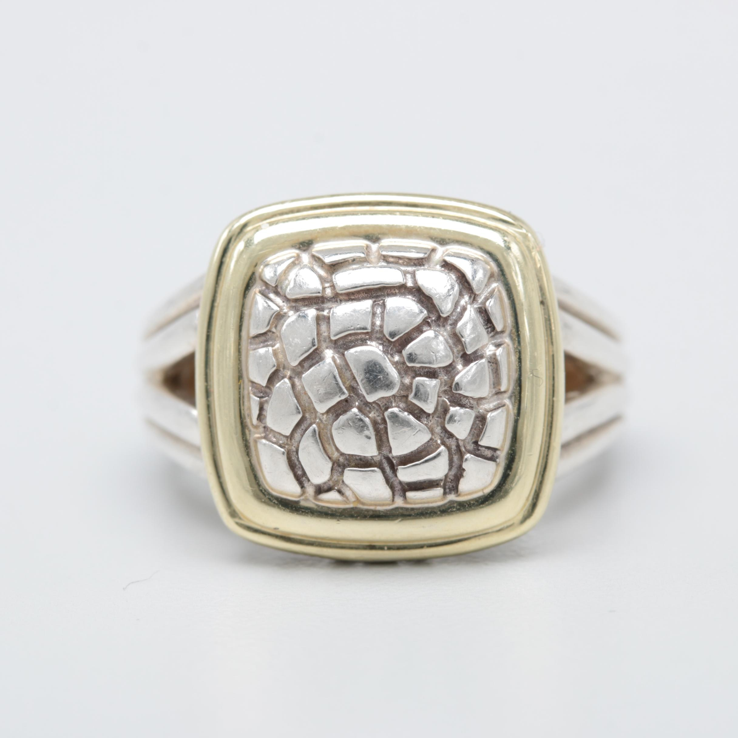 Charles Krypell Sterling Silver and 14K Yellow Gold Ring