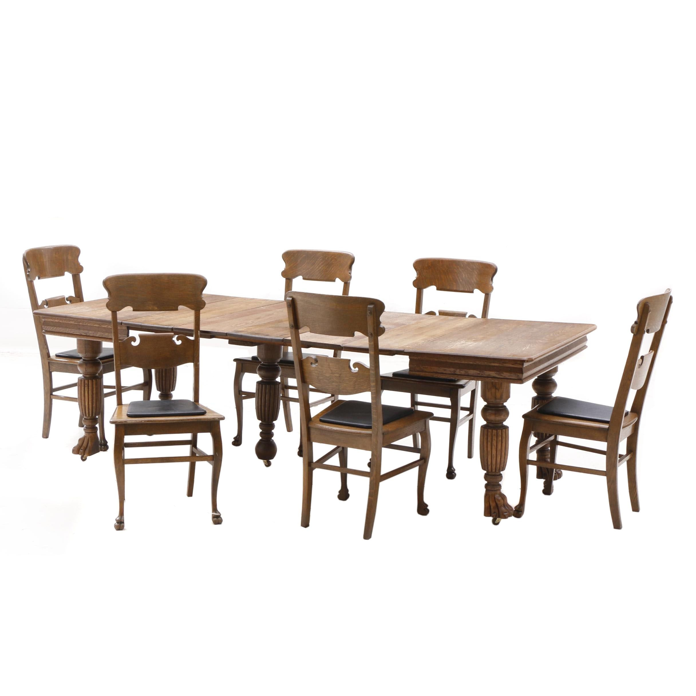 Vintage Oak Table with Matching Six Chairs