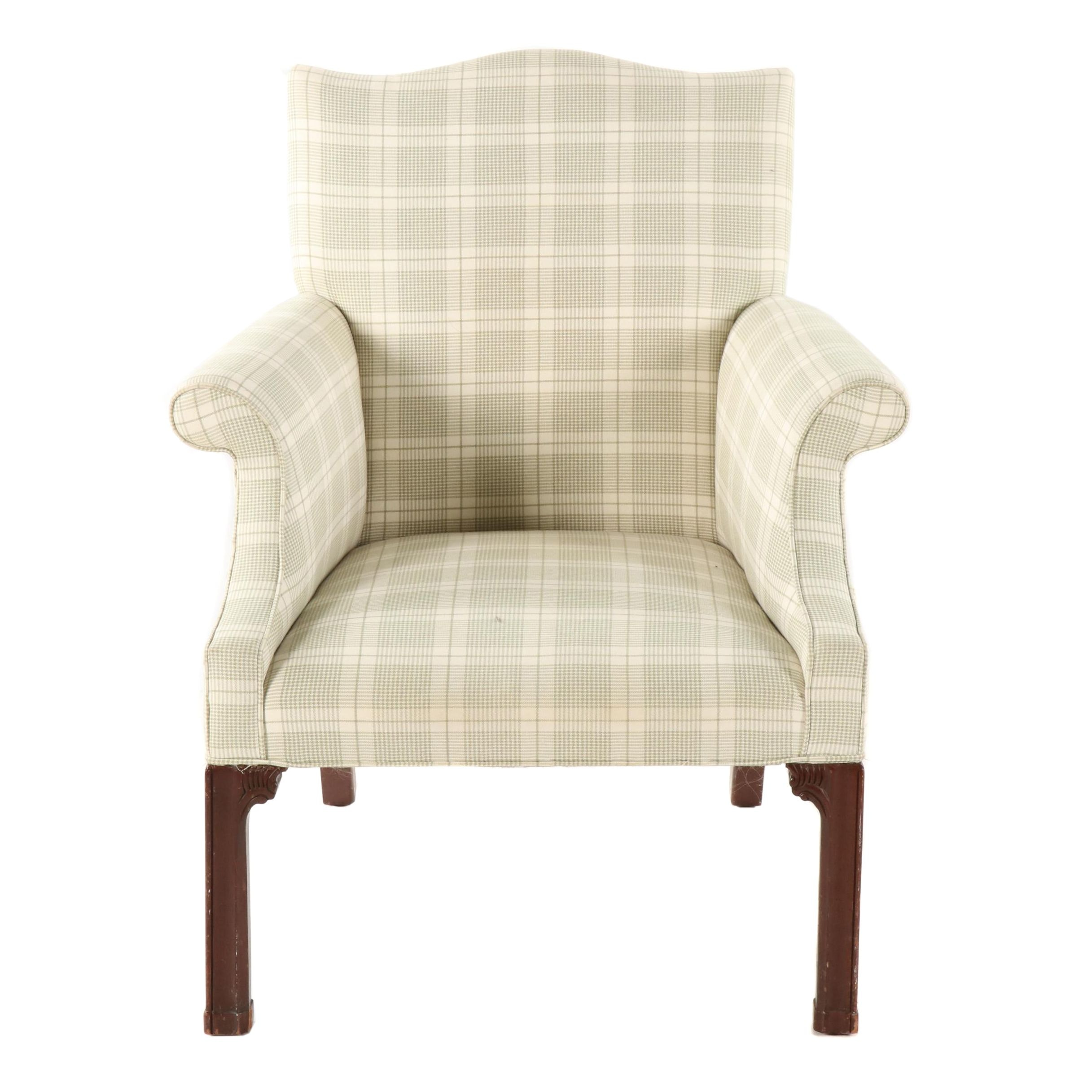 Chippendale Style Upholstered Armchair, Late 20th Century