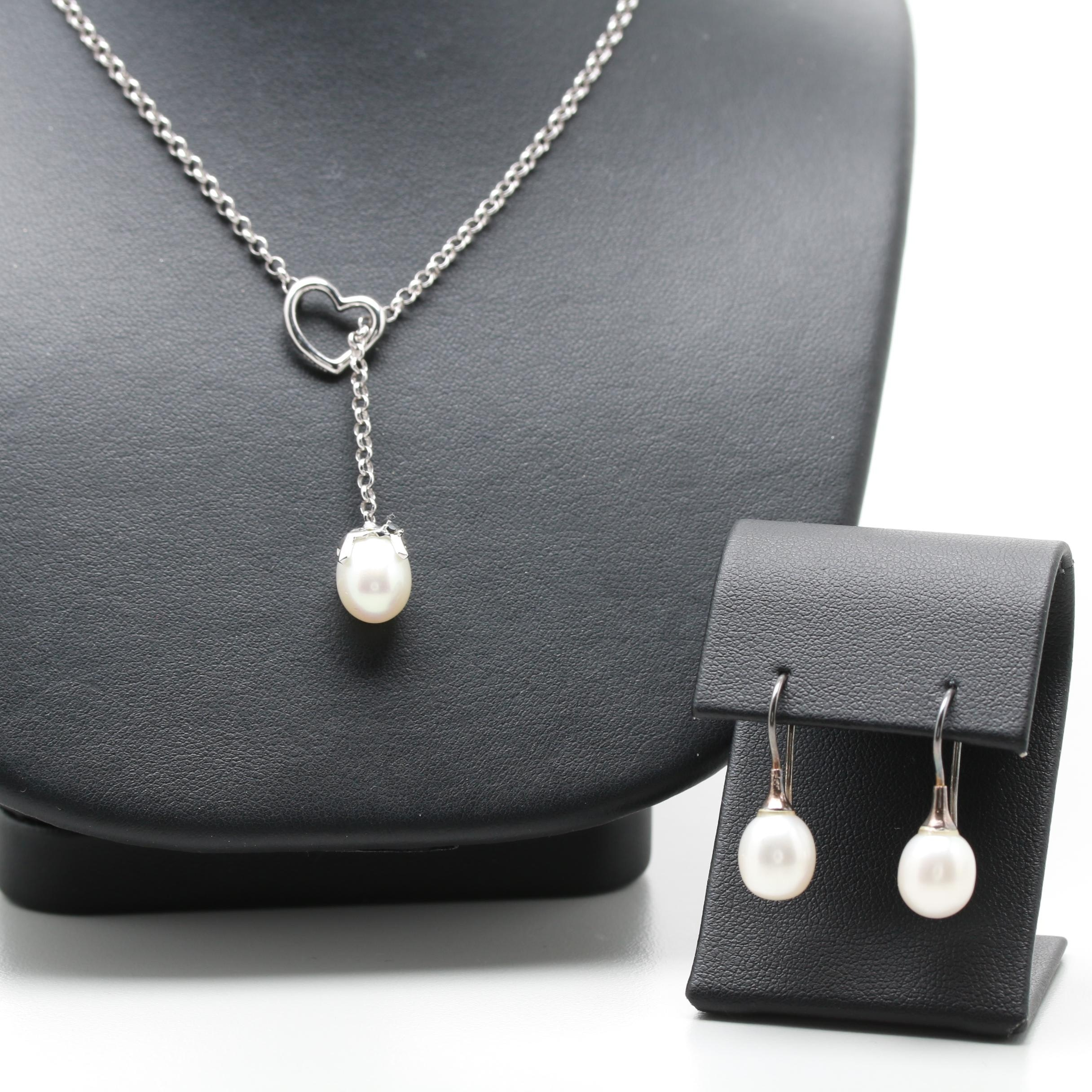 Sterling Silver Cultured Pearl Earrings and Necklace Set