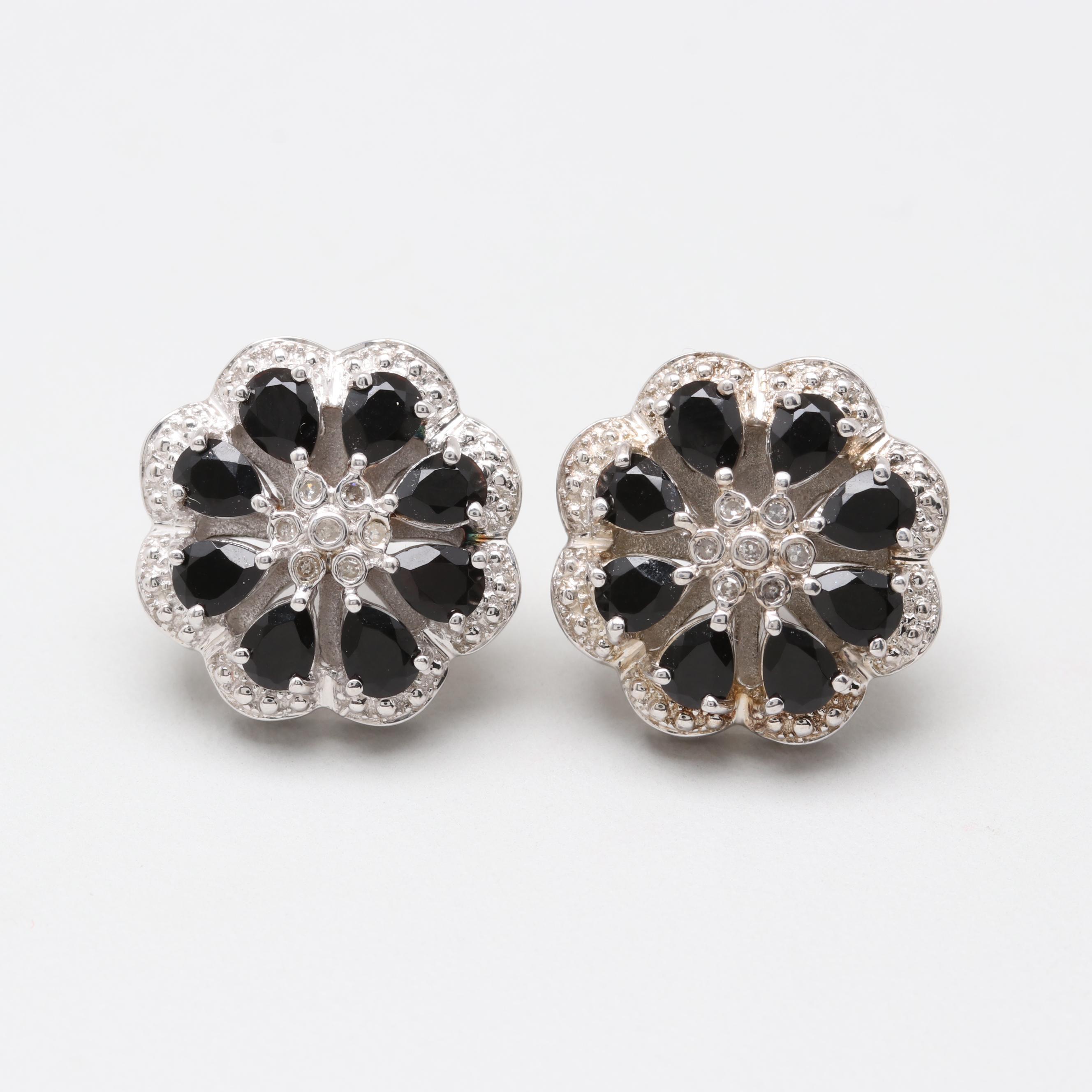 Alwand Vahan Sterling Silver Sapphire and Diamond Earrings