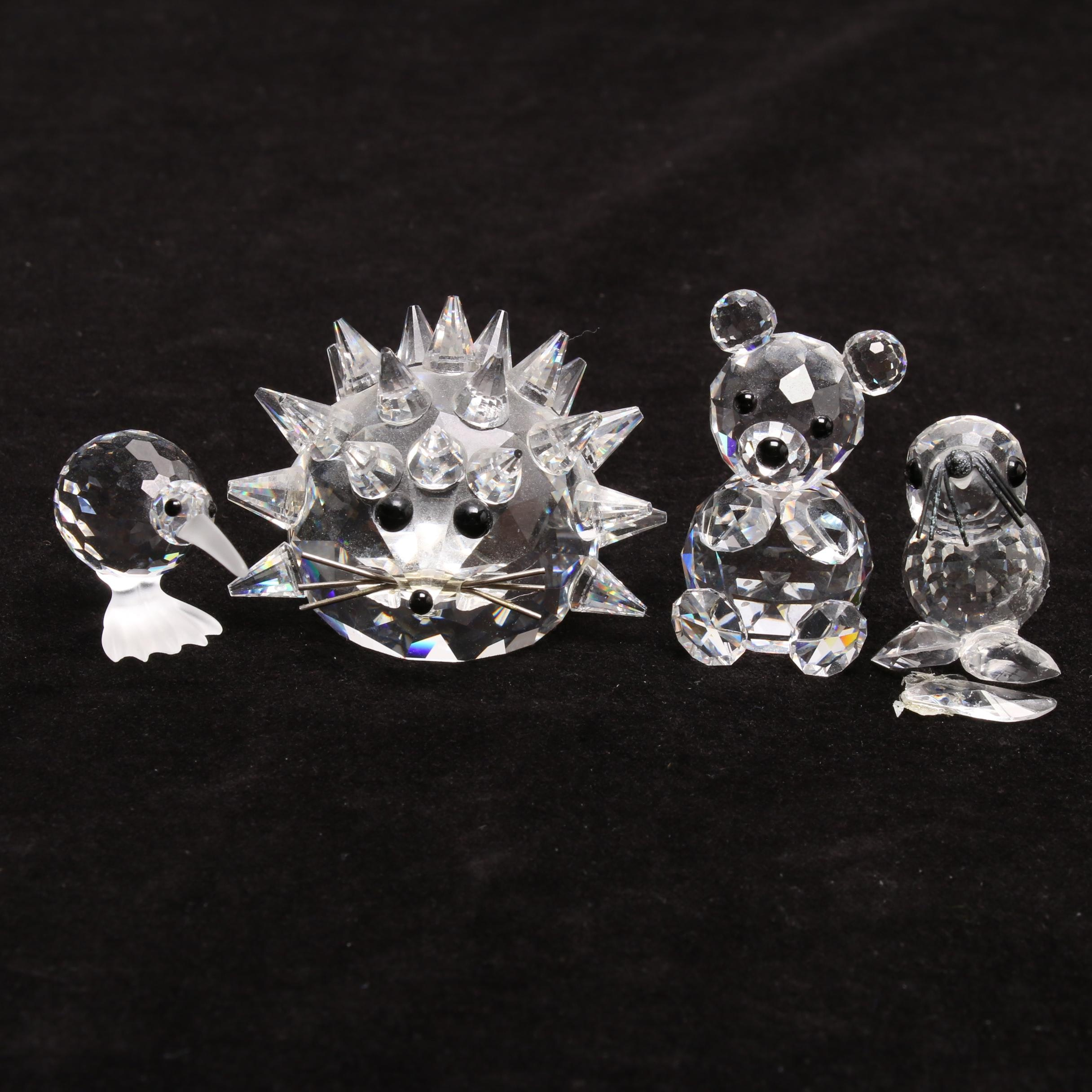 Swarovski Crystal Porcupine and Kiwi Figurines with a Bear and Seal