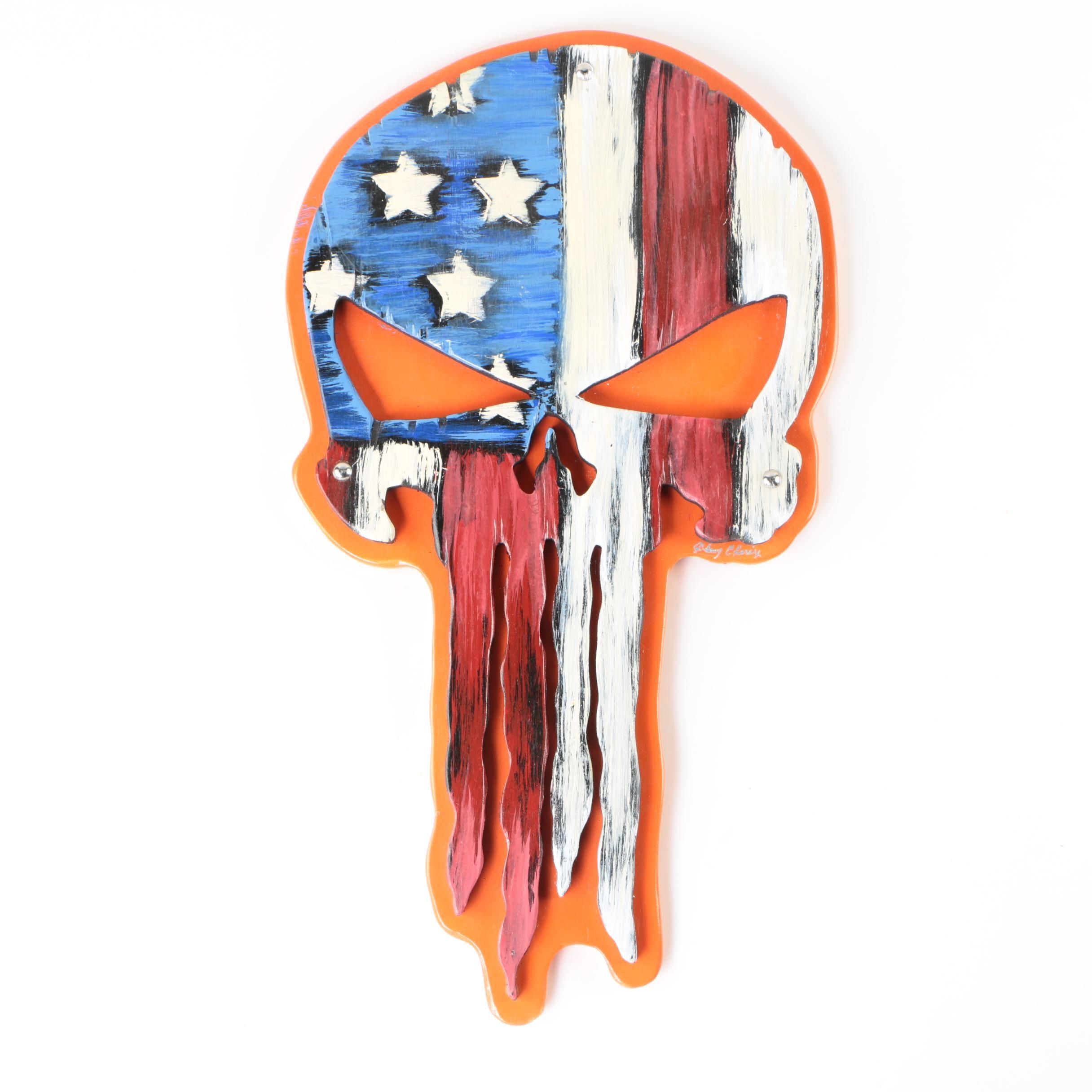 "Wooden ""Punisher"" Skull Wall Art"