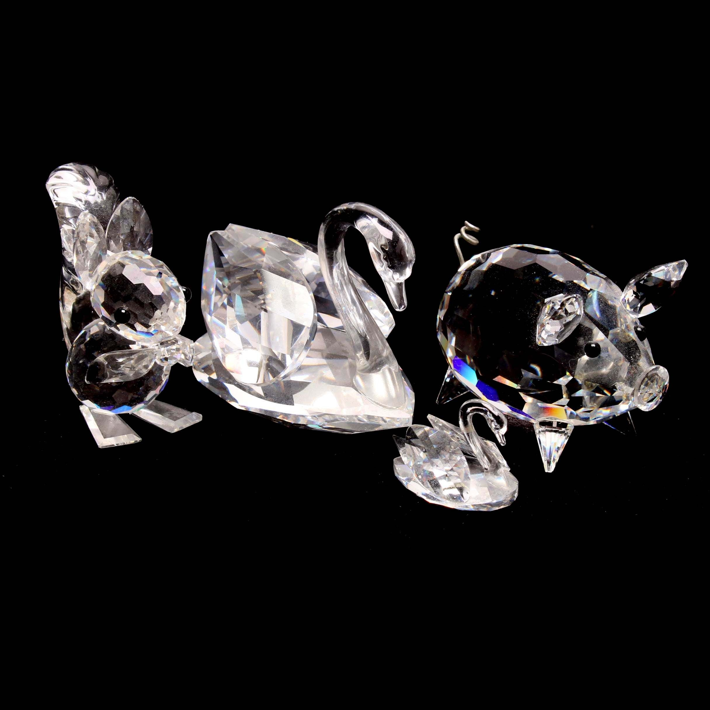 Swarovski Crystal Pig and Squirrel Figurines with Two Swans