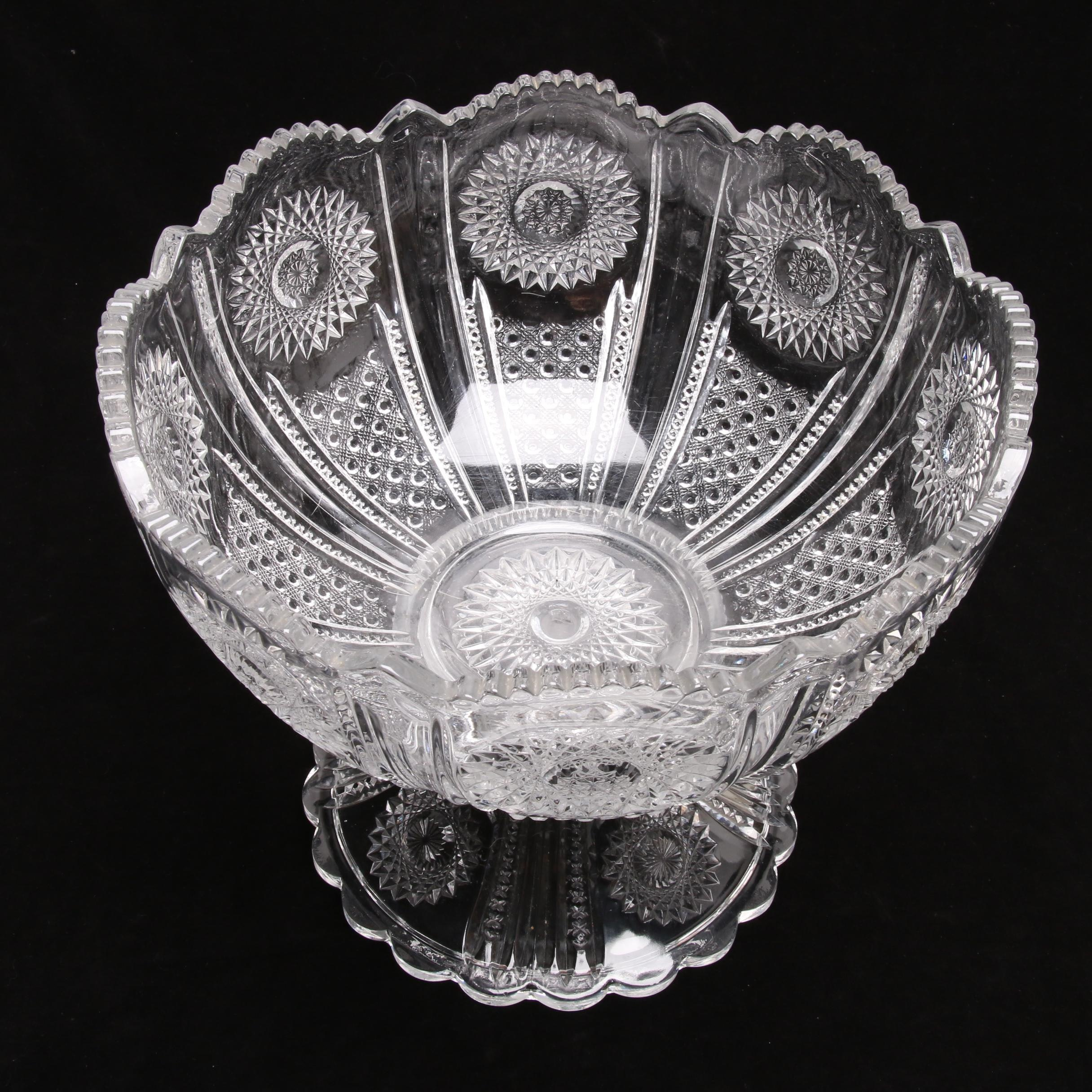 "Heisey ""Beaded Panel and Sunburst/Chrysanthemum"" Crystal Punch Bowl and Base"