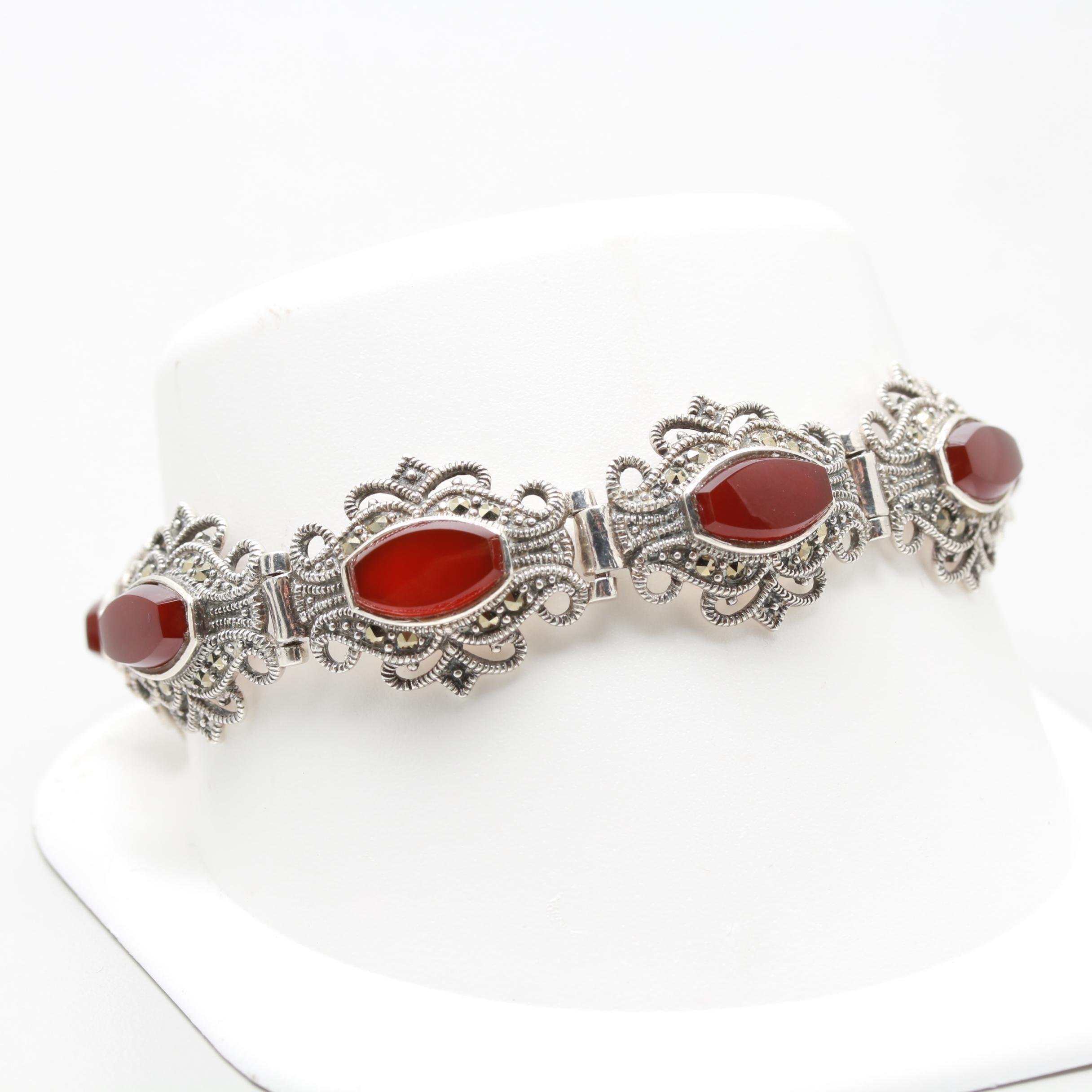 Art Deco Style Sterling Silver Sard Bracelet