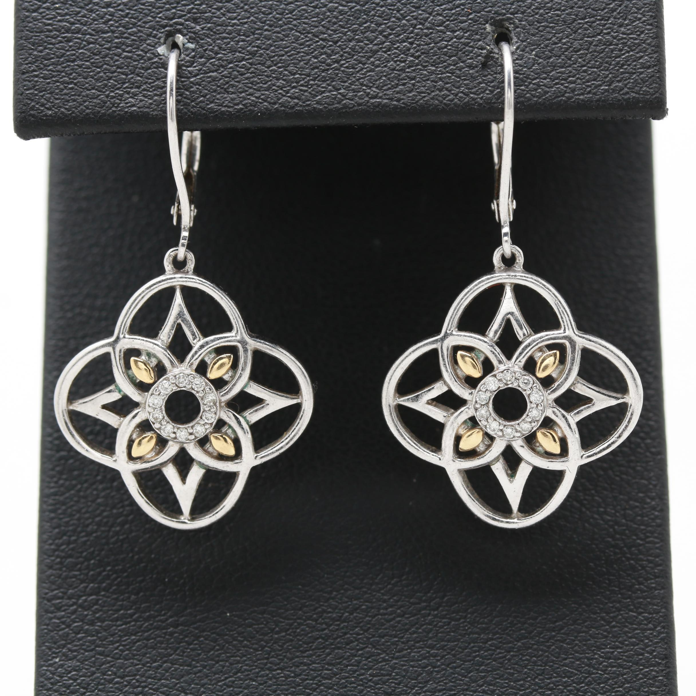 Zé Quatrefoil Sterling Silver Diamond Earrings With 18K Yellow Gold Accents