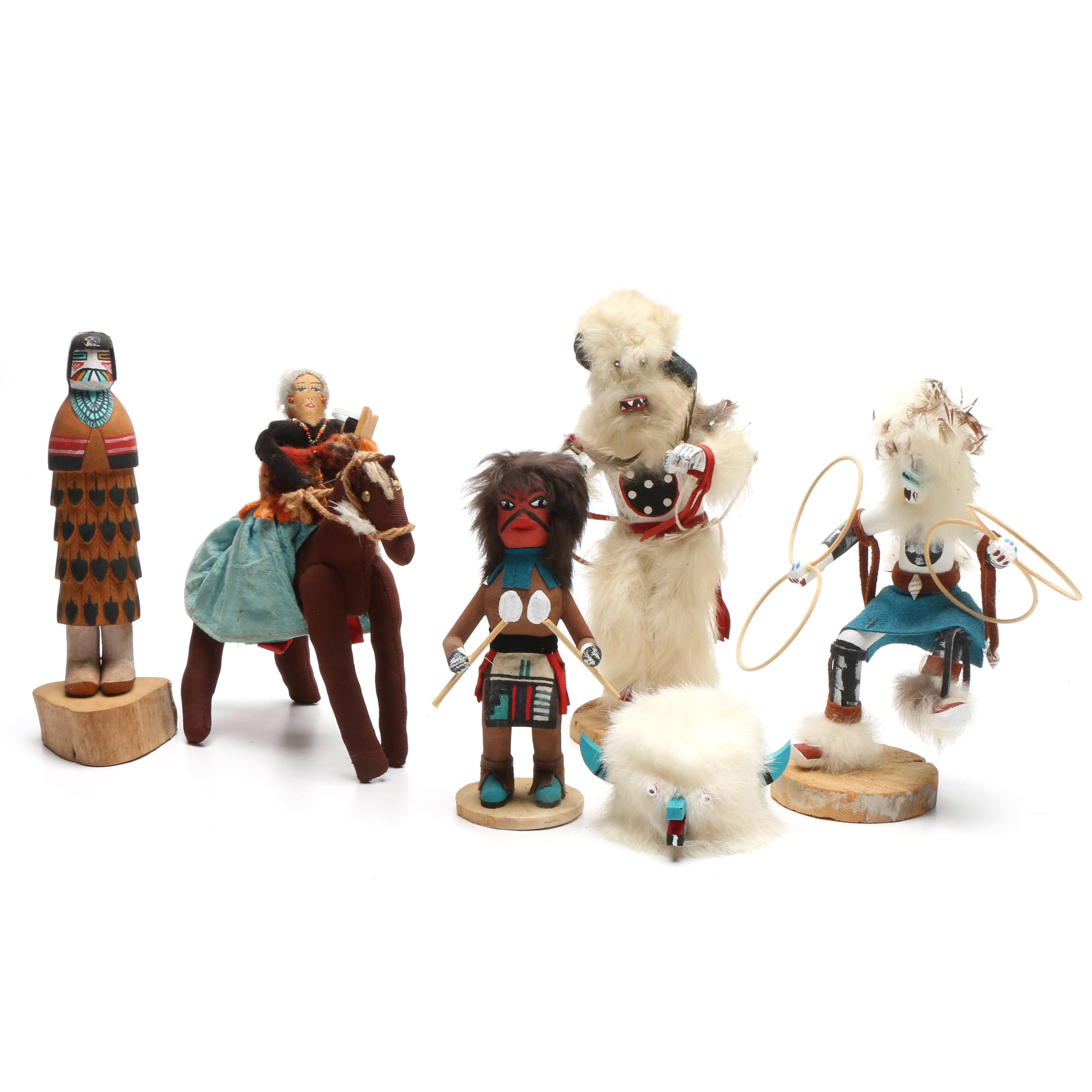 Signed Kachina Style Dolls and Other Handmade Figurines