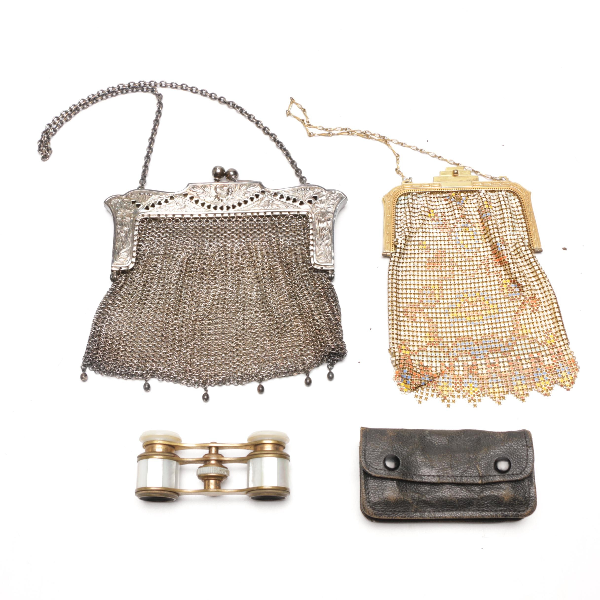 1920s Mesh Handbags Including Sterling, Whiting and Davis and Opera Glasses