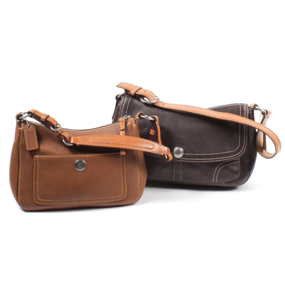 Coach Brown Pebbled Leather Shoulder Bags