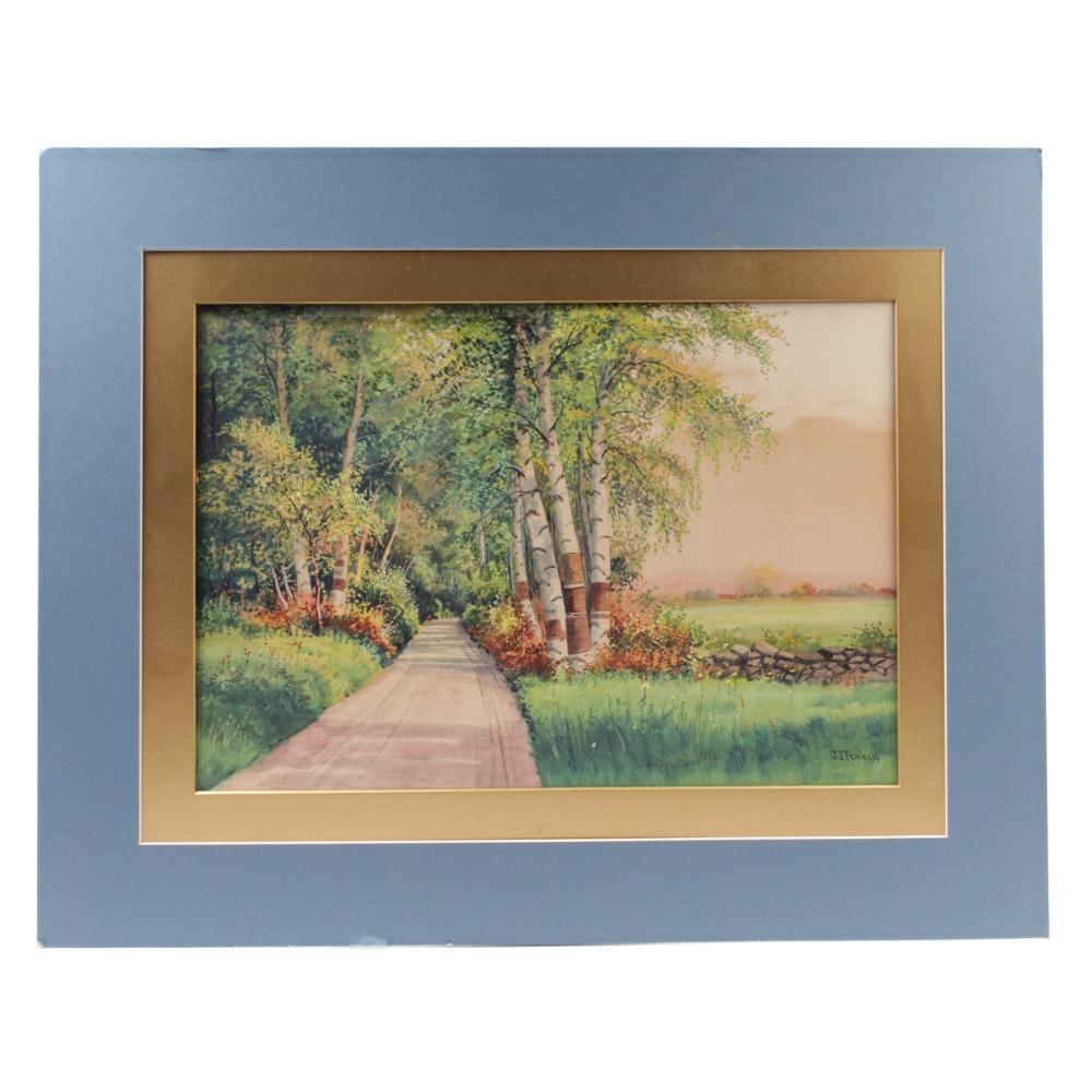 J. J. Francis Watercolor and Gouache Landscape Painting