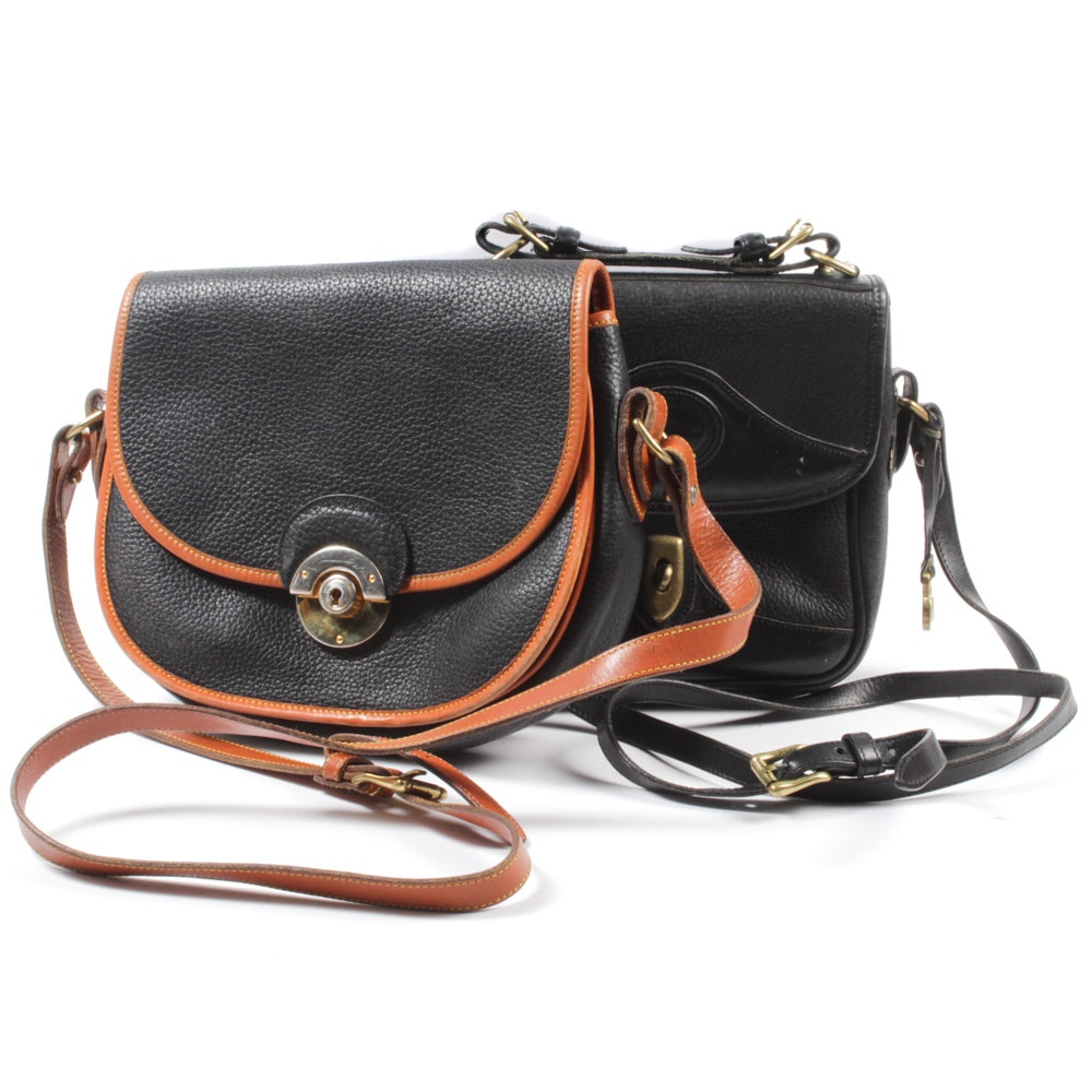 Dooney & Bourke Black Pebbled Leather Front Flap Crossbody Bags