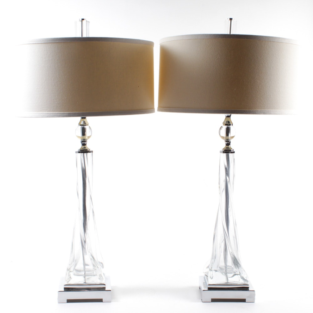 """Uttermost """"Grancona"""" Twisted Glass Table Lamps"""