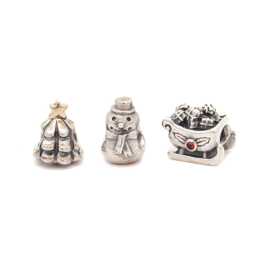 Pandora Sterling Silver Christmas Holiday Charms